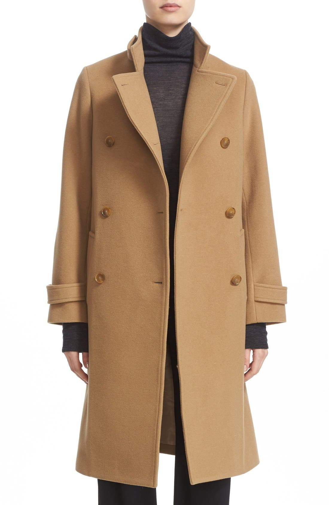VINCE Stand Collar Wool & Cashmere Trench Coat, Main, color, 200