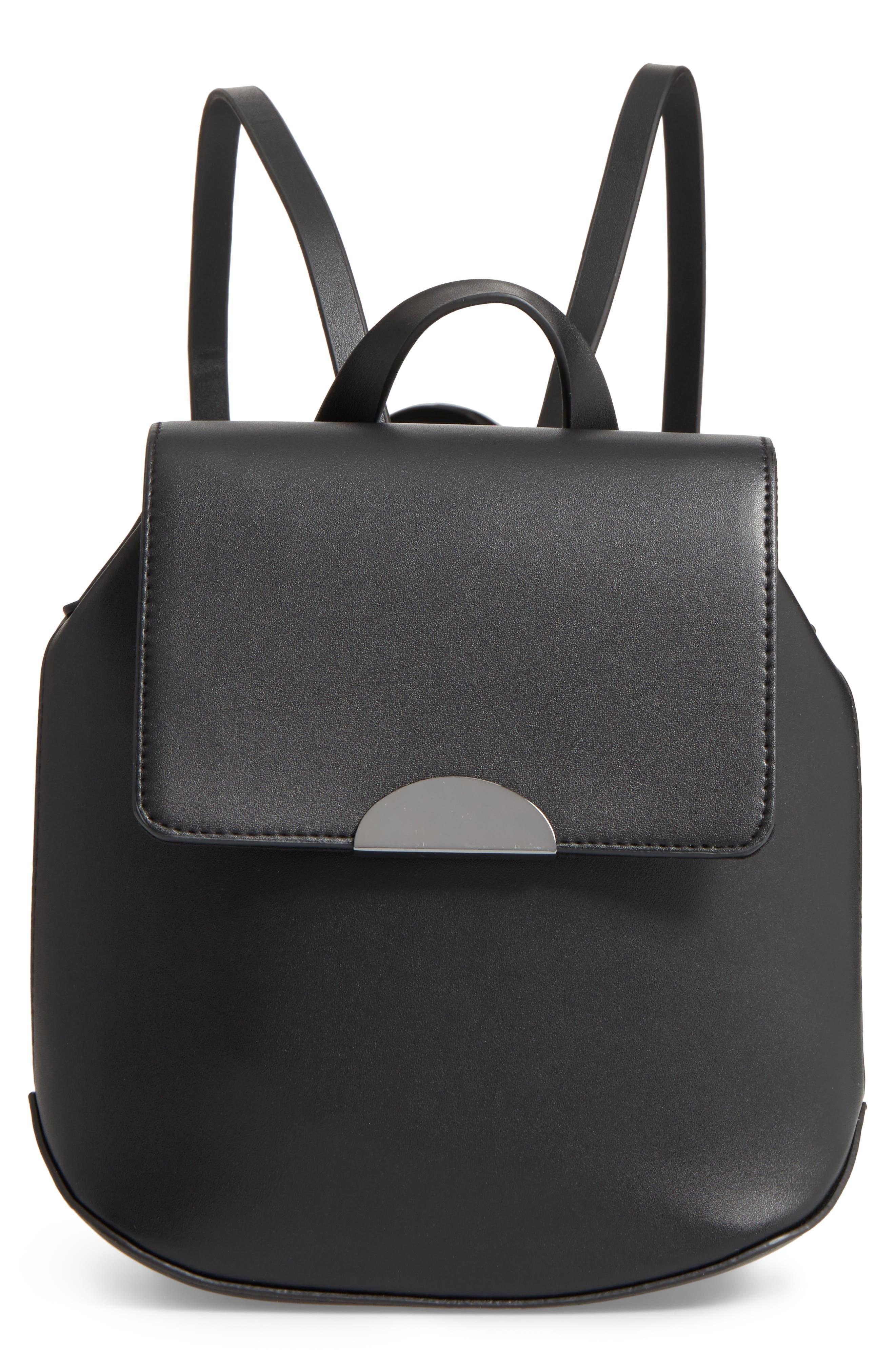 Faux Leather Mini Backpack,                             Main thumbnail 1, color,                             001