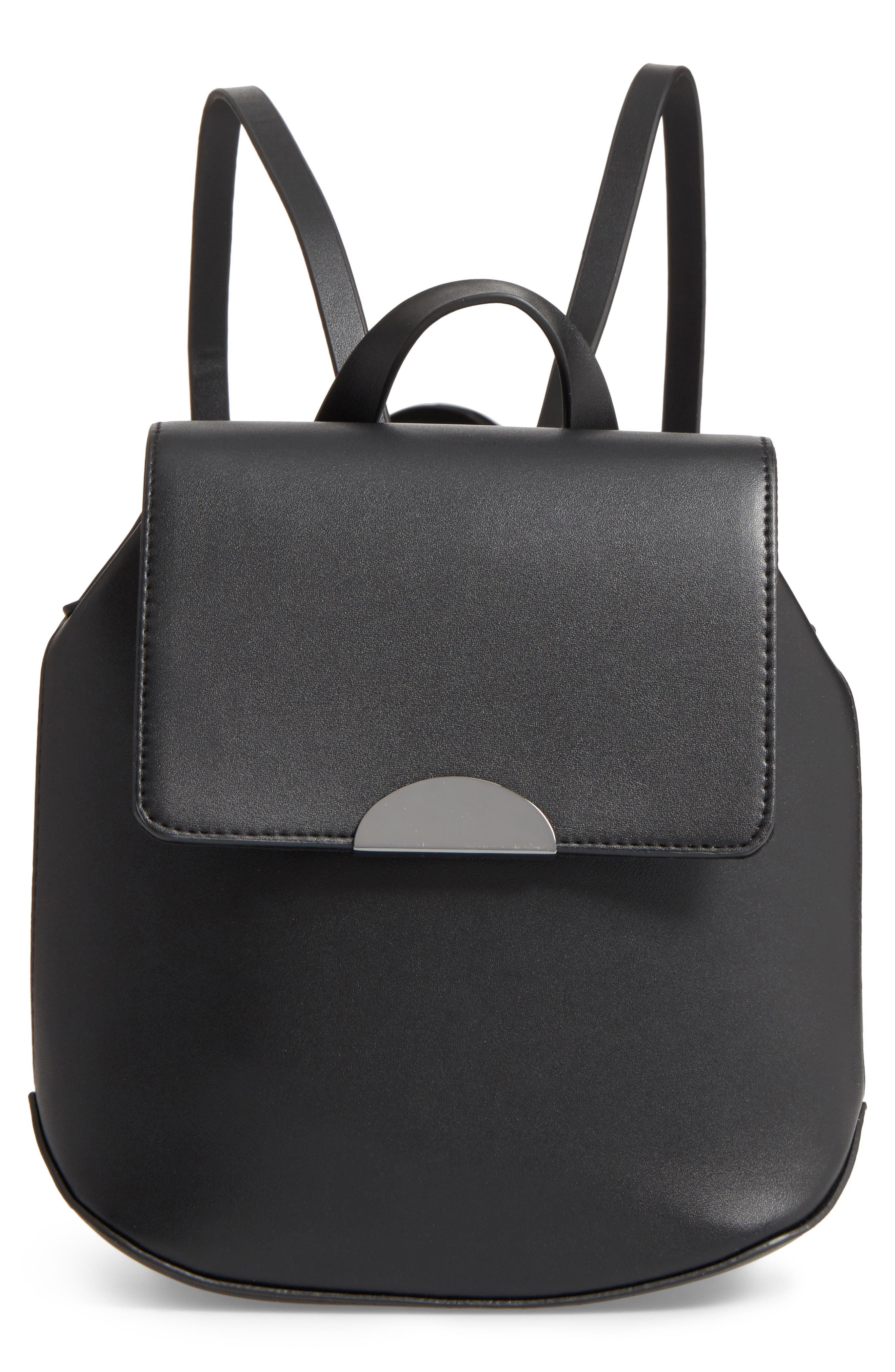 Faux Leather Mini Backpack, Main, color, 001