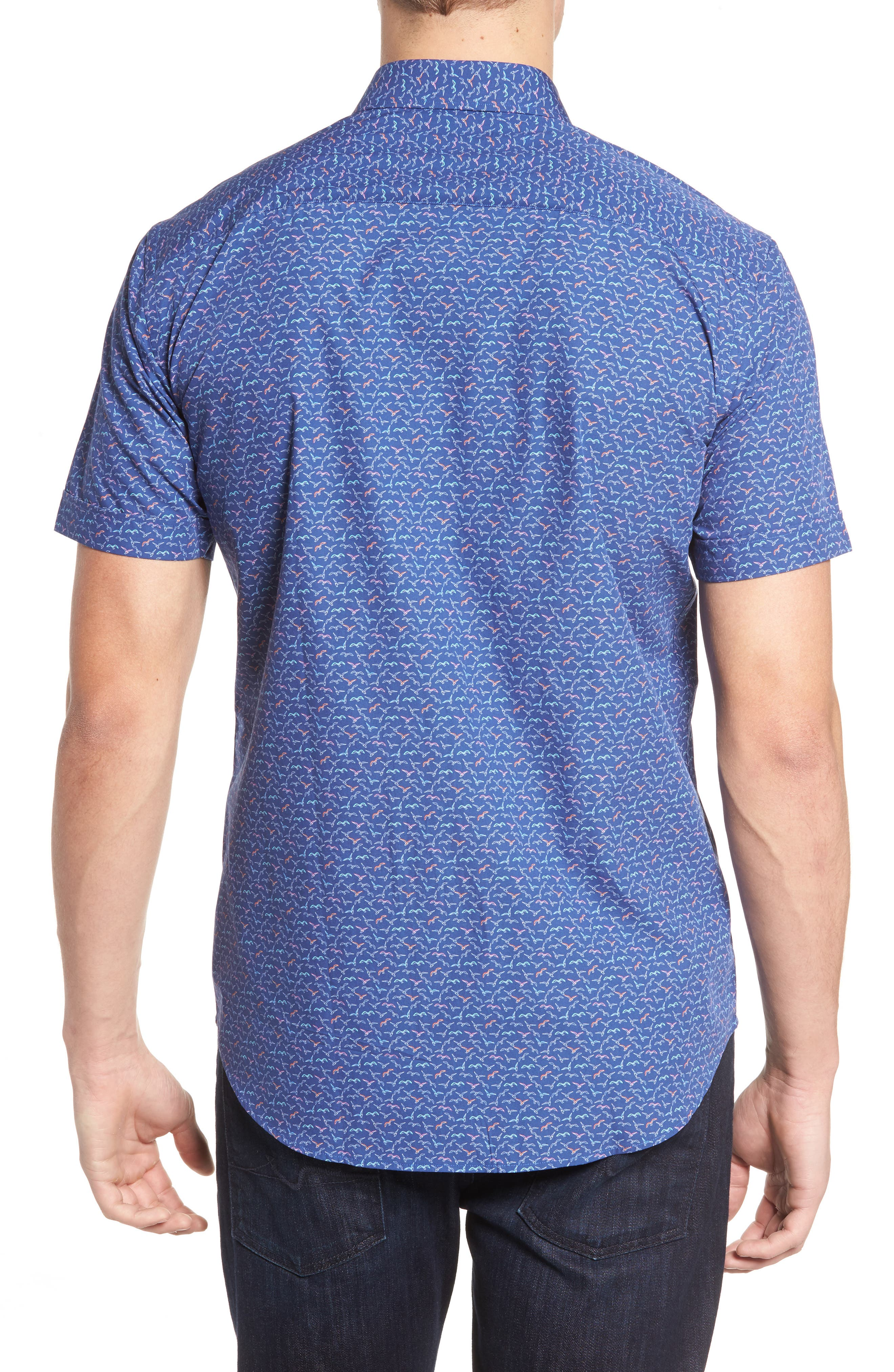 Shaped Fit Bird Print Sport Shirt,                             Alternate thumbnail 2, color,                             411