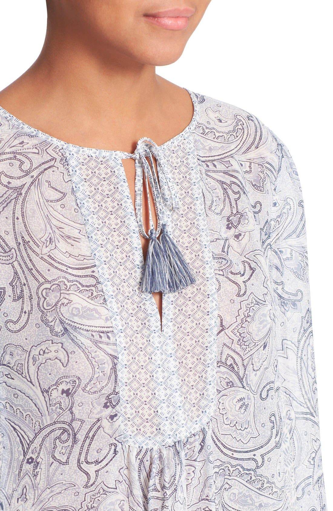 JOIE,                             'Acerila' Mixed Print Silk Peasant Top,                             Alternate thumbnail 2, color,                             430