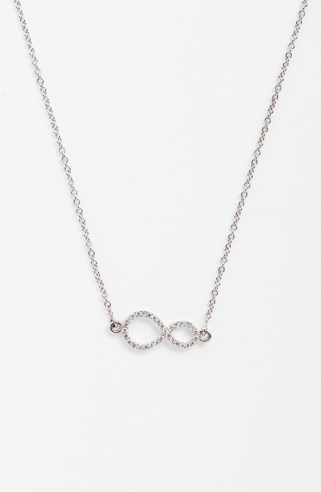 Pavé Diamond Sideways Infinity Symbol Pendant Necklace,                             Main thumbnail 1, color,                             710