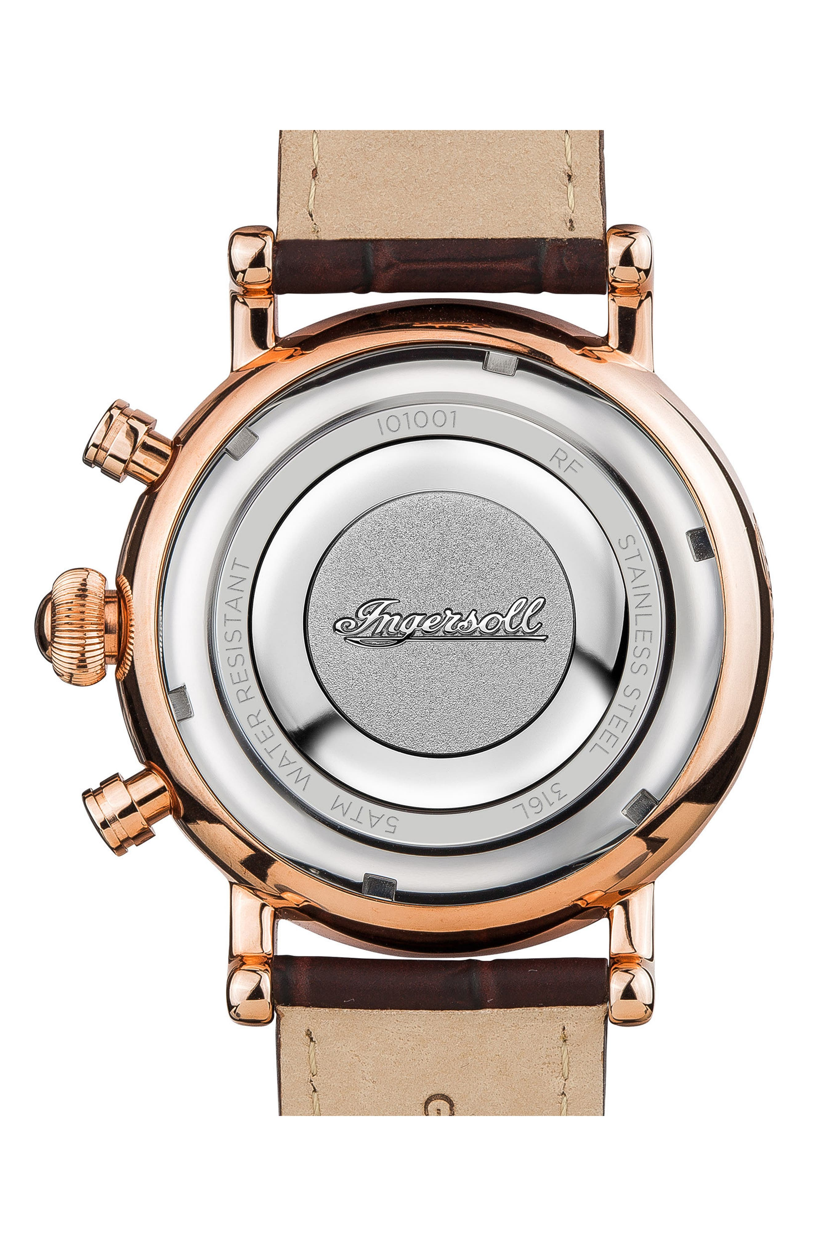 Ingersoll Daniells Chronograph Leather Strap Watch, 44mm,                             Alternate thumbnail 5, color,