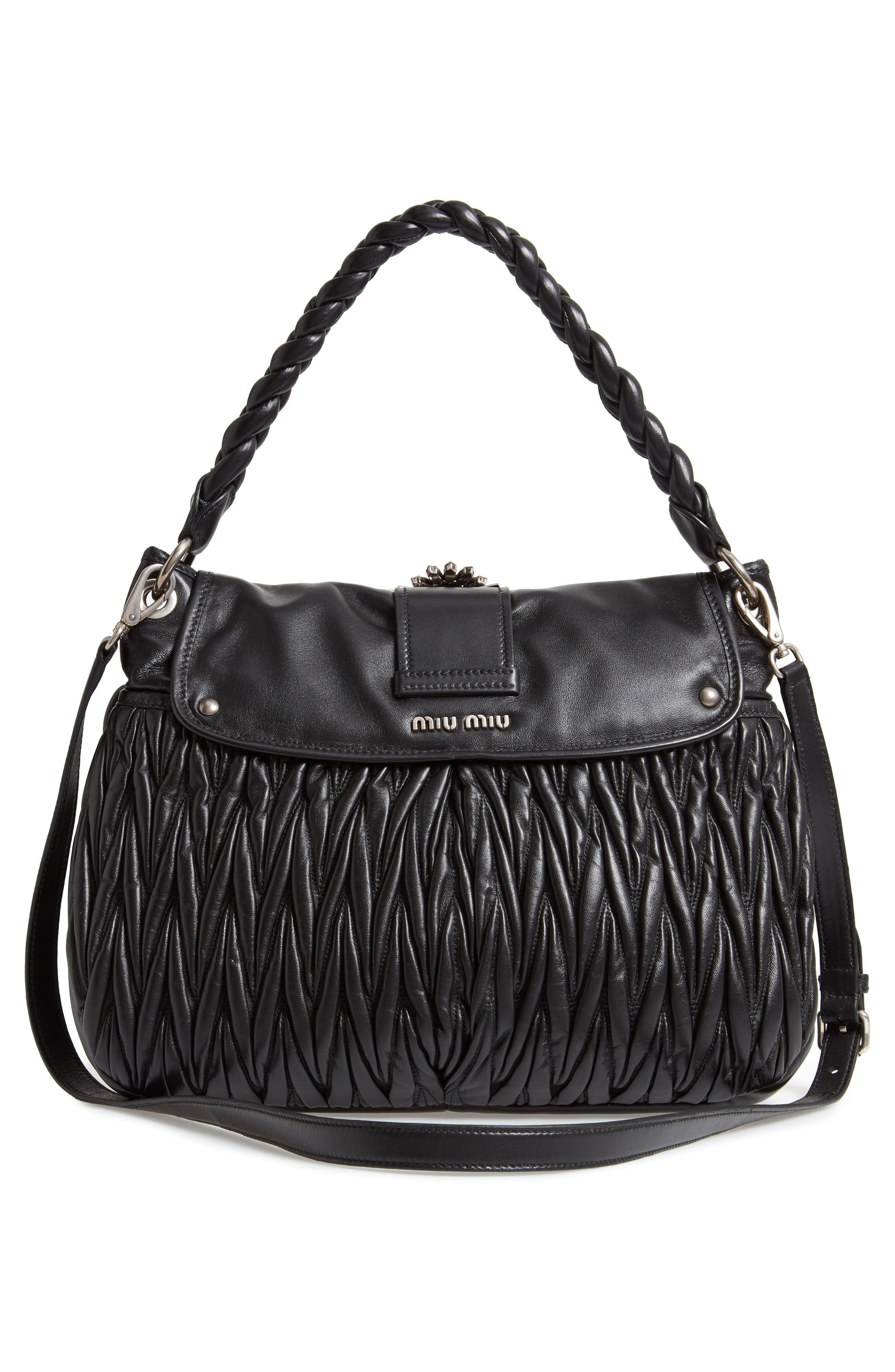 Matelassé Lambskin Leather Shoulder Bag,                             Alternate thumbnail 3, color,                             NERO