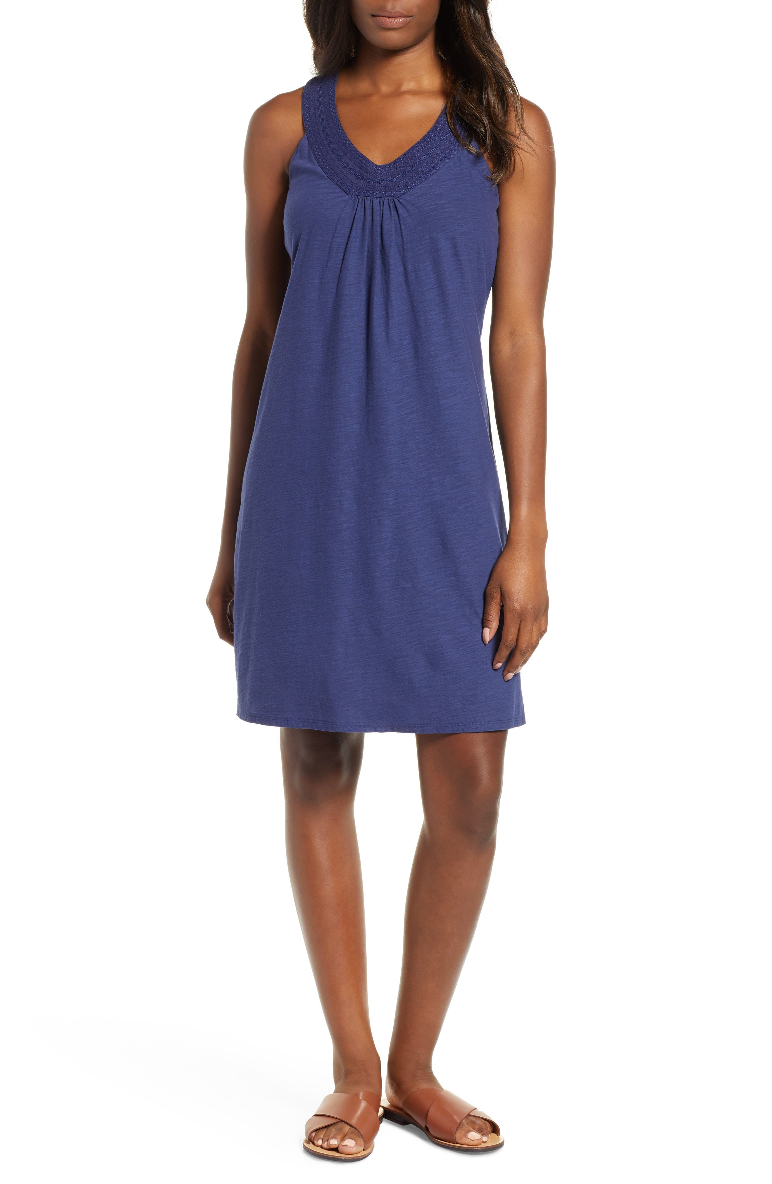 Tommy Bahama Arden Embroidered Neck Dress, Blue