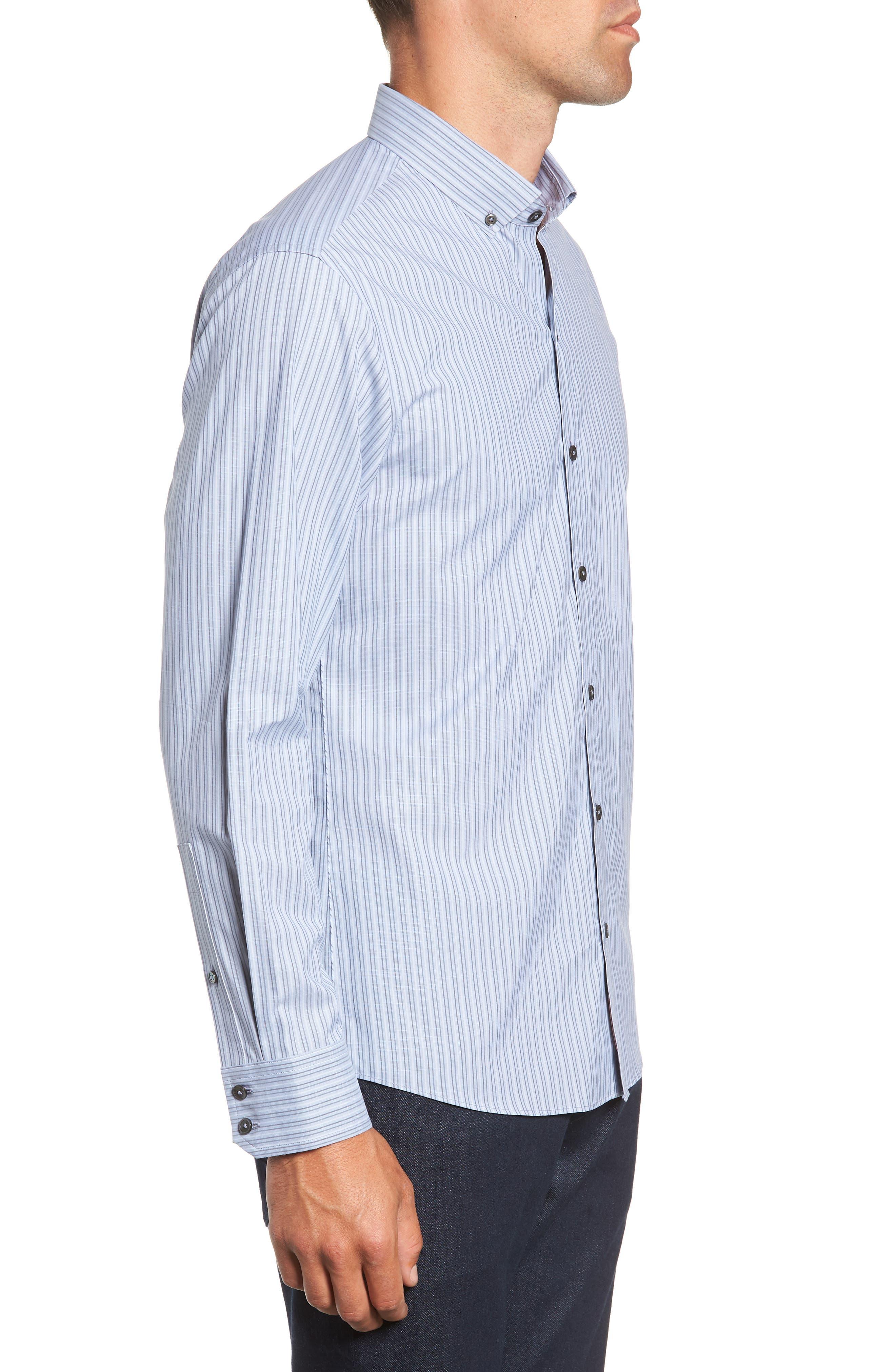Vinnie Regular Fit Stripe Sport Shirt,                             Alternate thumbnail 4, color,                             SLATE