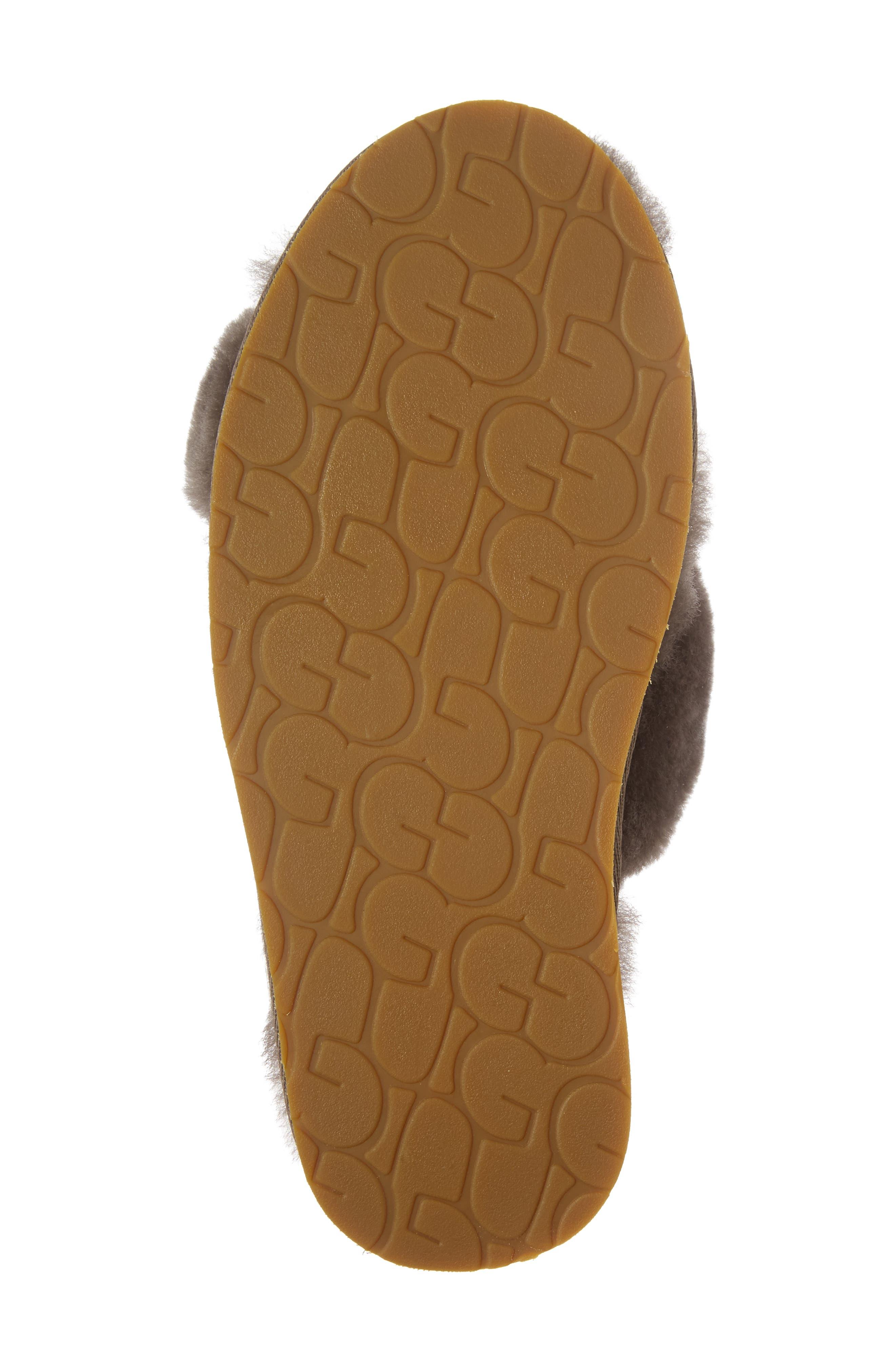 Abela Genuine Shearling Flip Flop,                             Alternate thumbnail 6, color,                             SLATE WOOL