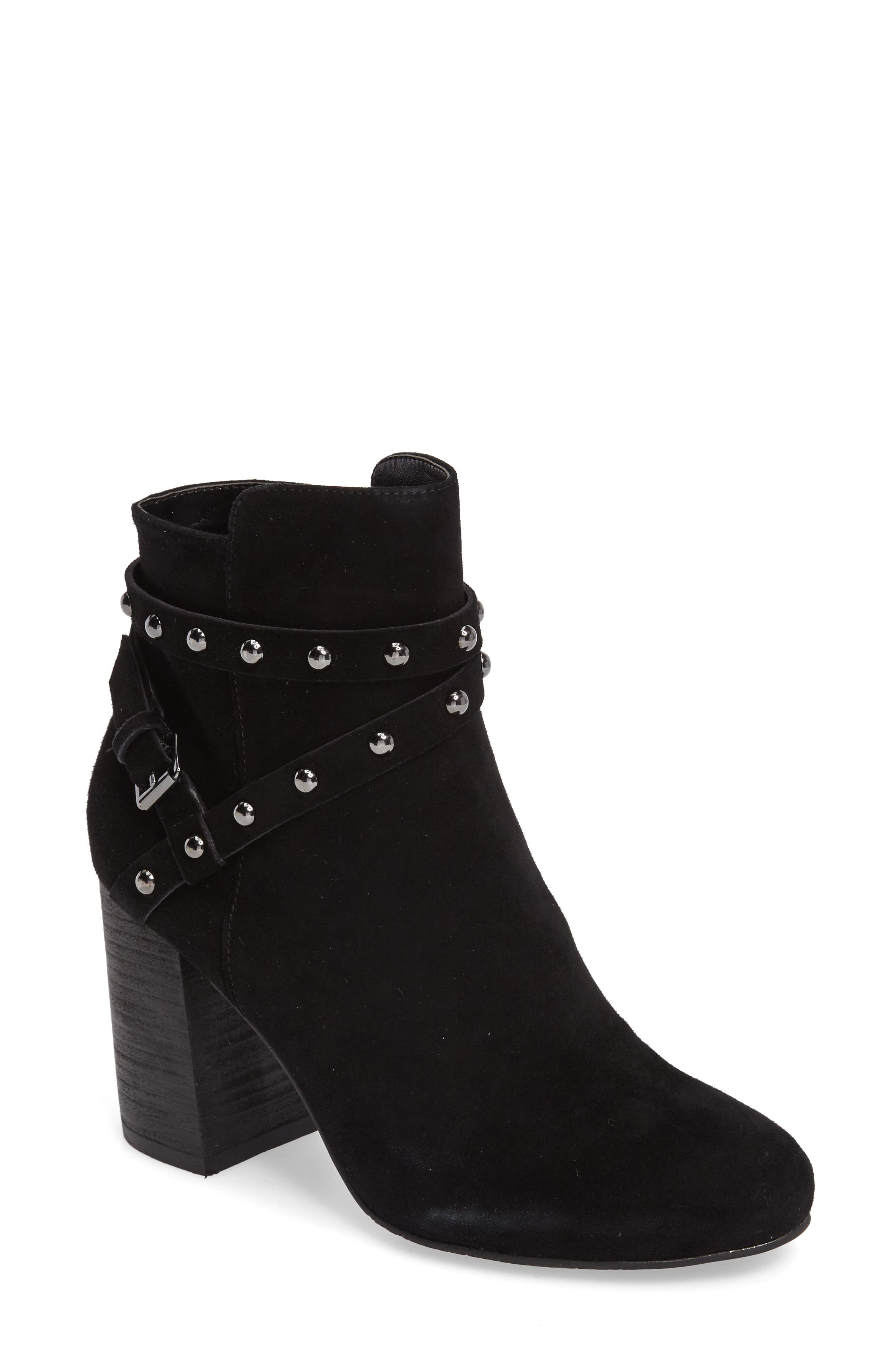 Kolo Flared-Heel Studded Bootie,                             Main thumbnail 1, color,                             001