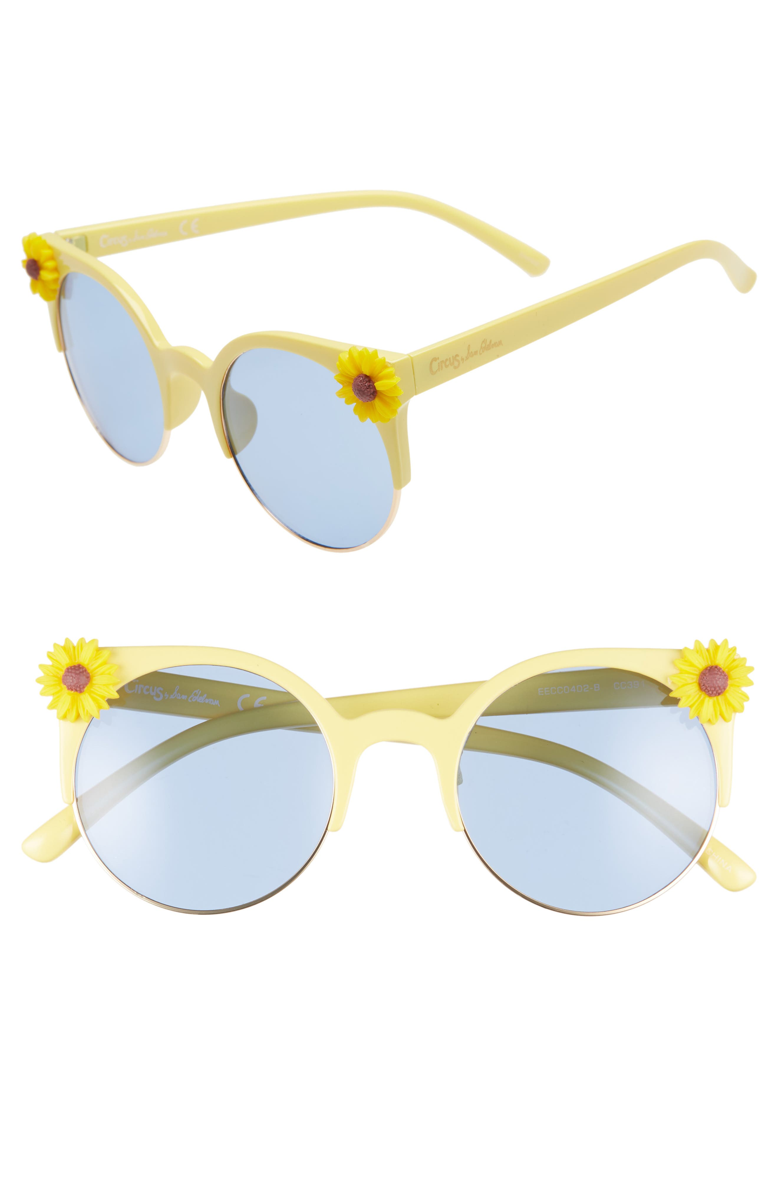 CIRCUS BY SAM EDELMAN 50Mm Daisy Accent Round Sunglasses - Yellow/ Blue Lens