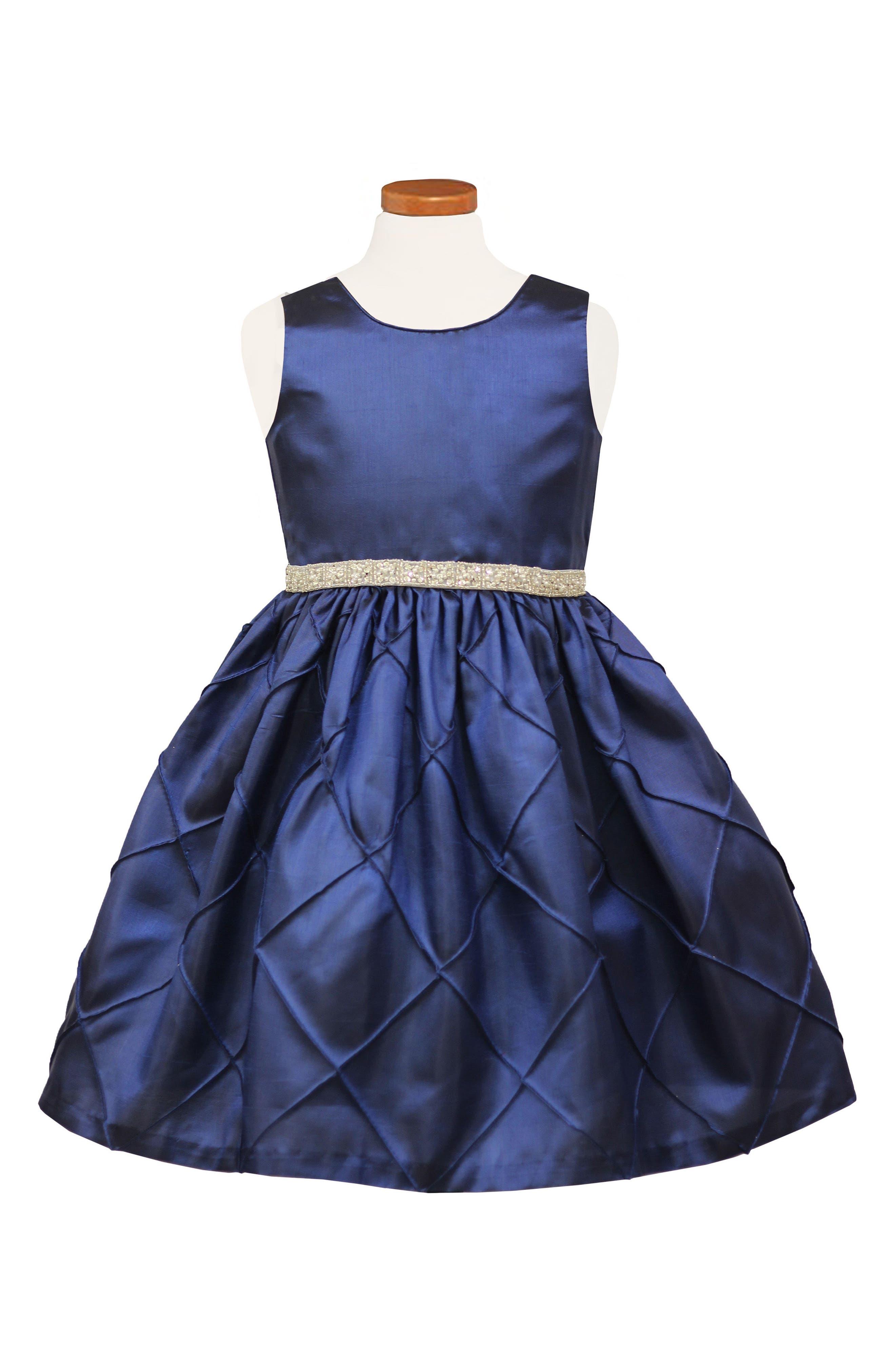 Taffeta Sleeveless Dress,                         Main,                         color, NAVY