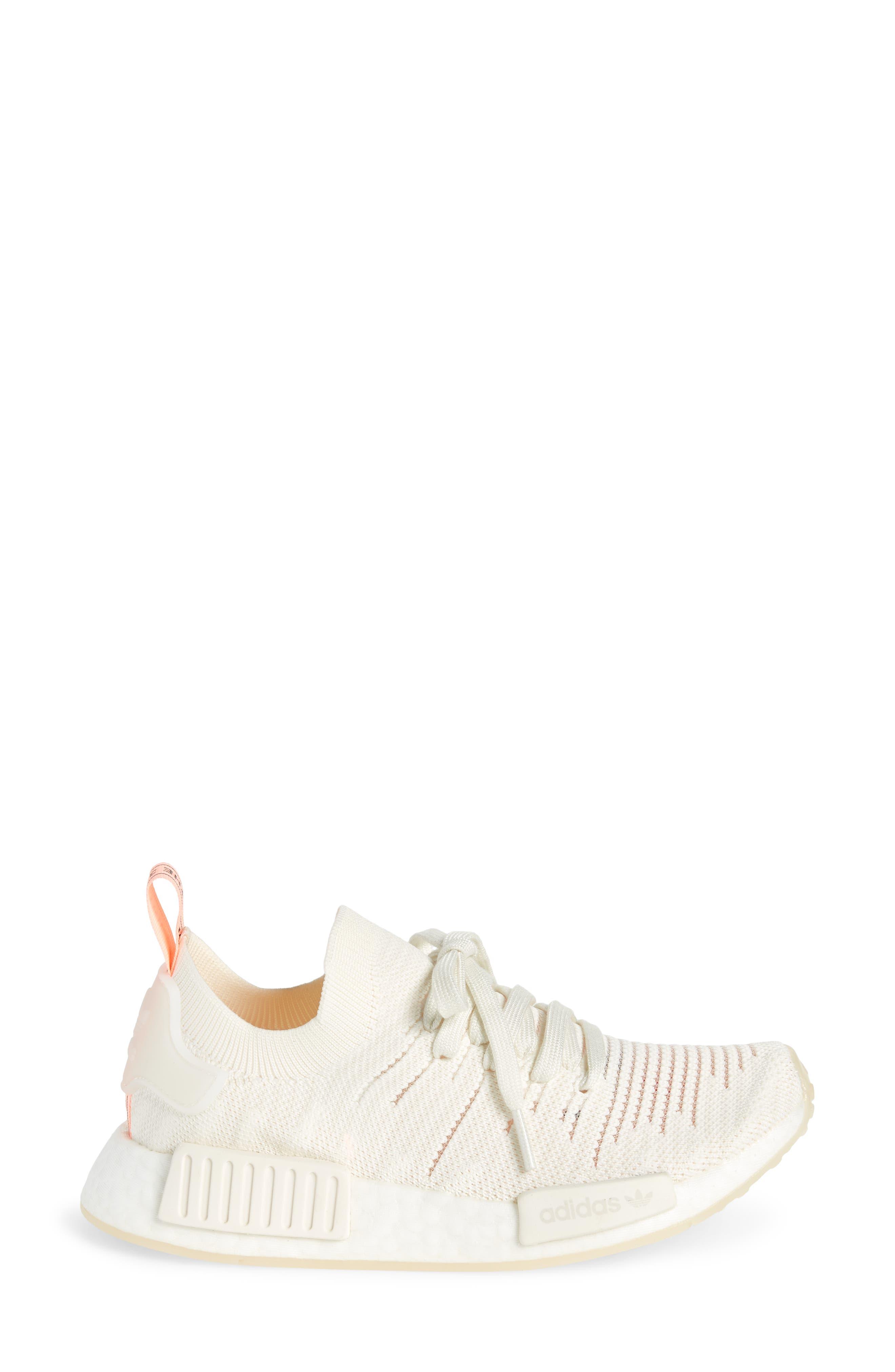 NMD R1 STLT Primeknit Sneaker,                             Alternate thumbnail 3, color,                             100