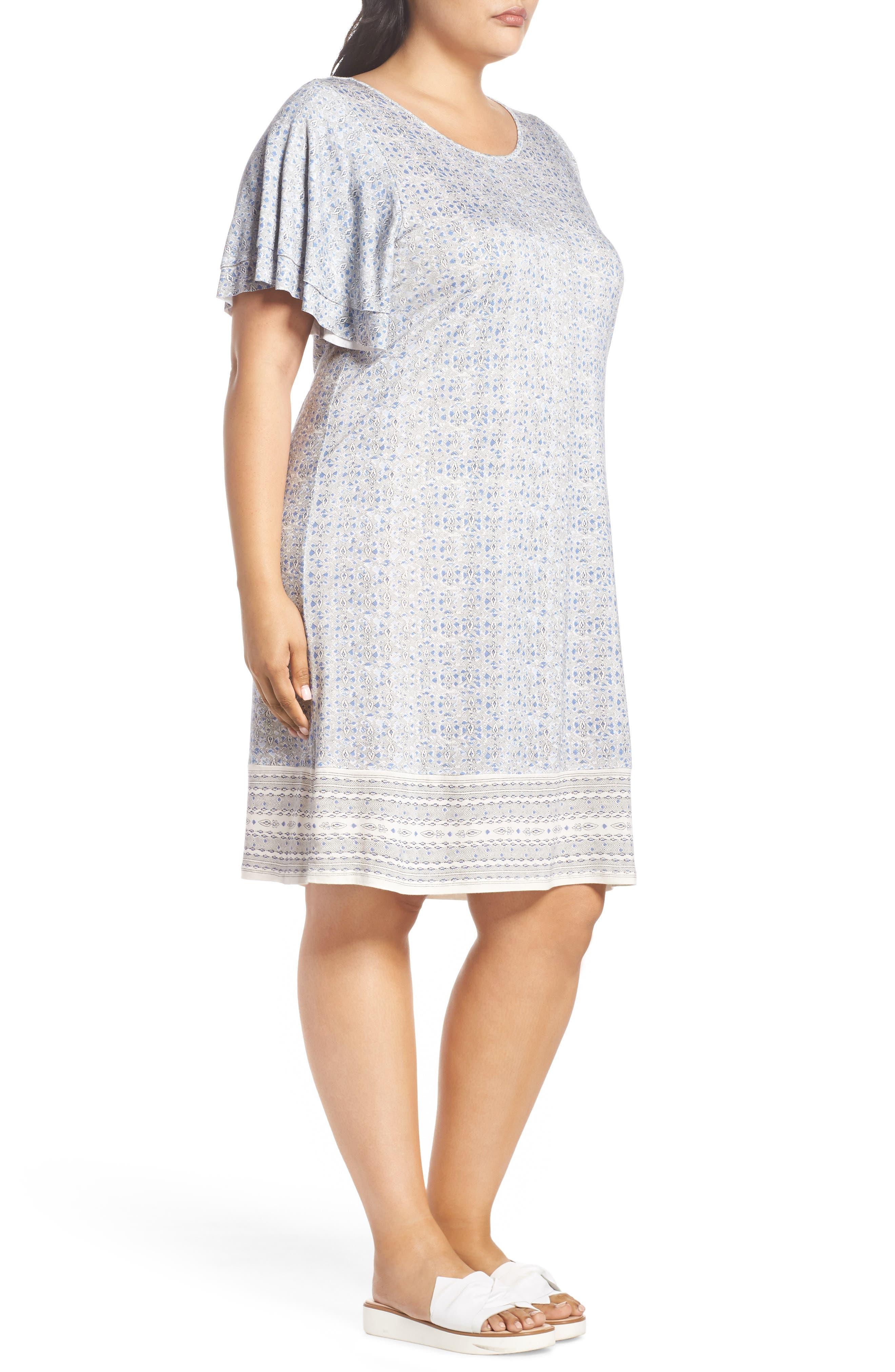 Ruffle Sleeve Print Shift Dress,                             Alternate thumbnail 3, color,                             460