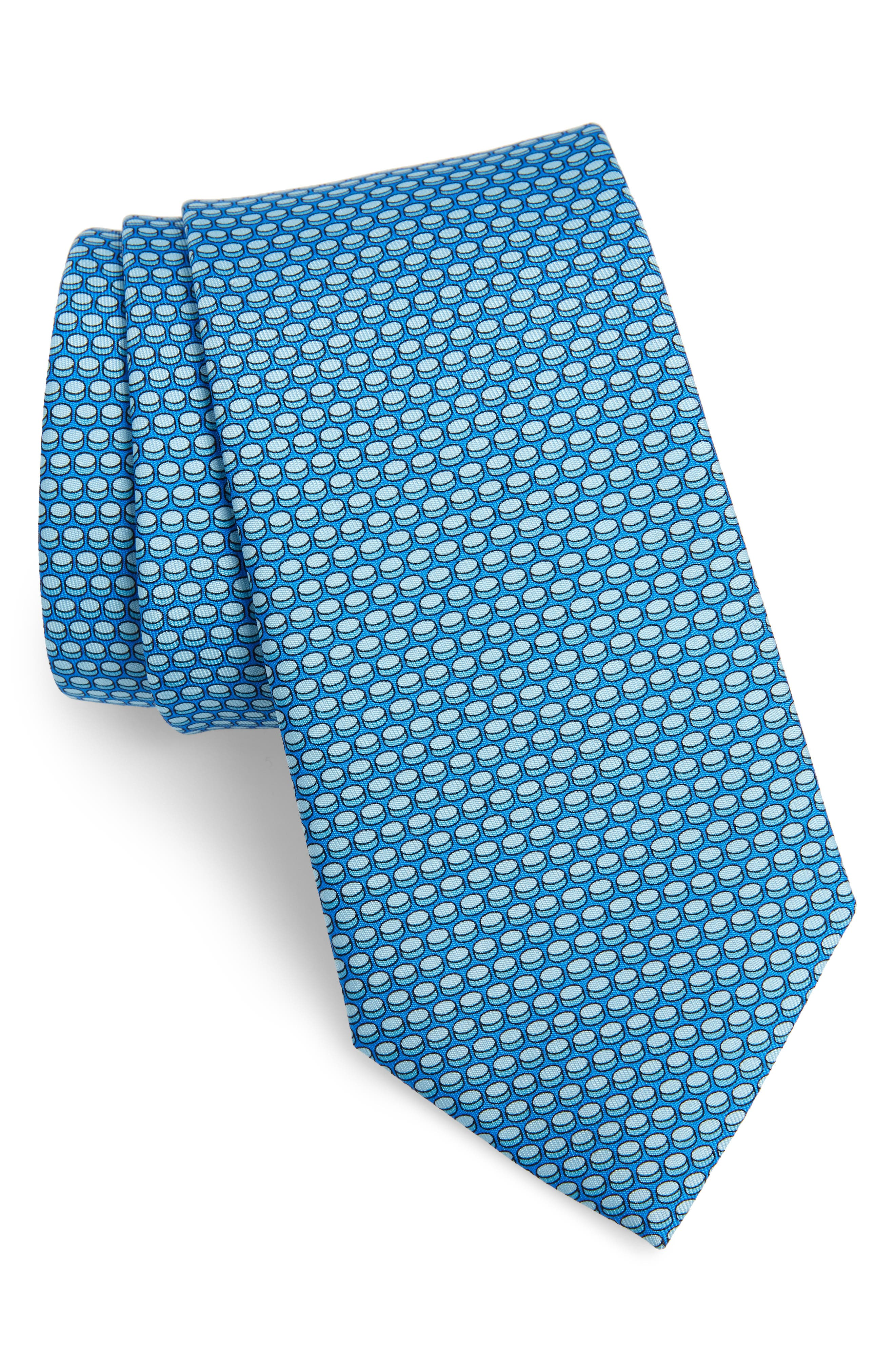 Hockey Puck Silk Tie,                         Main,                         color, BLUE