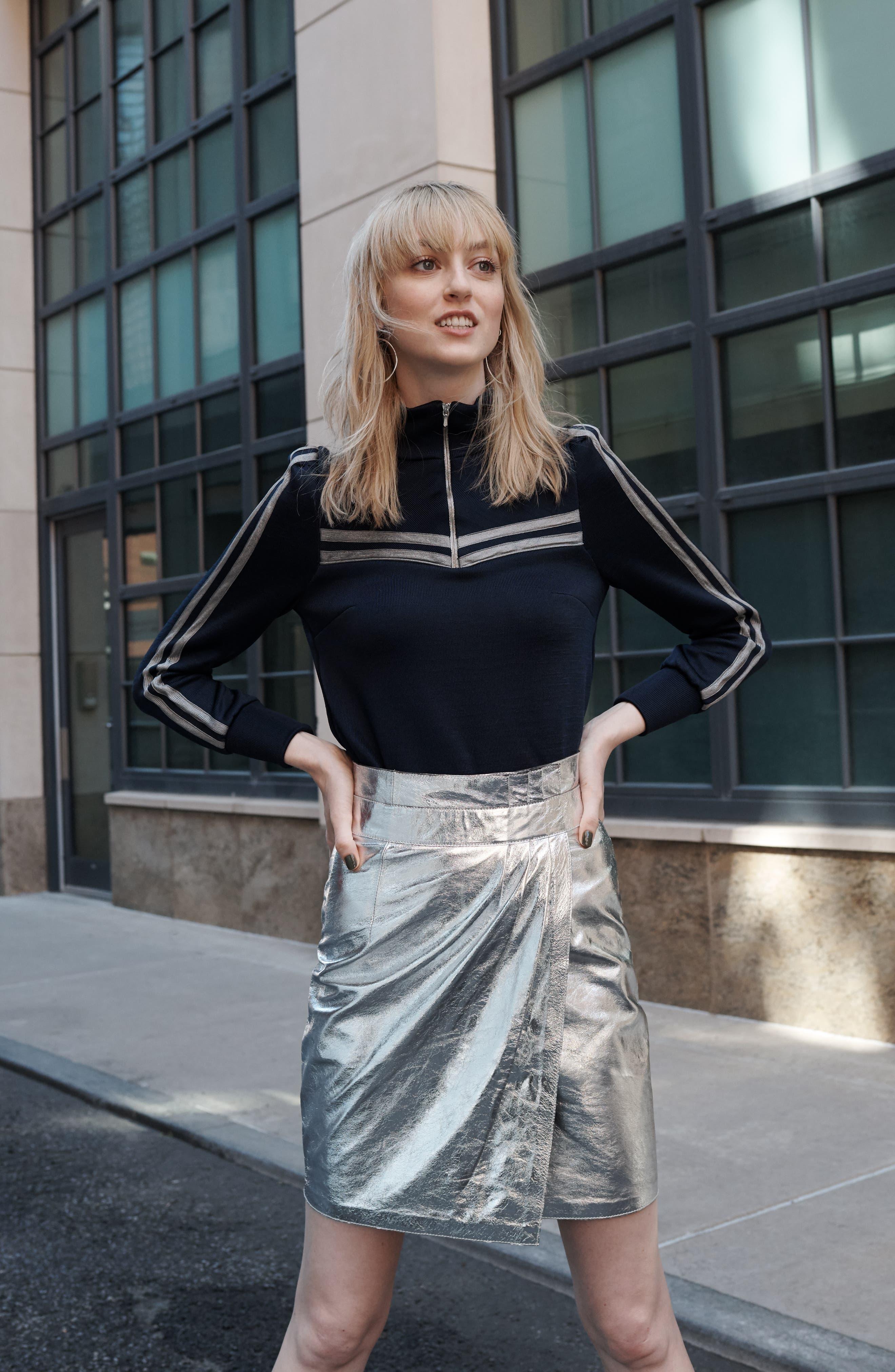 Mania Metallic Leather Skirt,                             Alternate thumbnail 7, color,                             GREY
