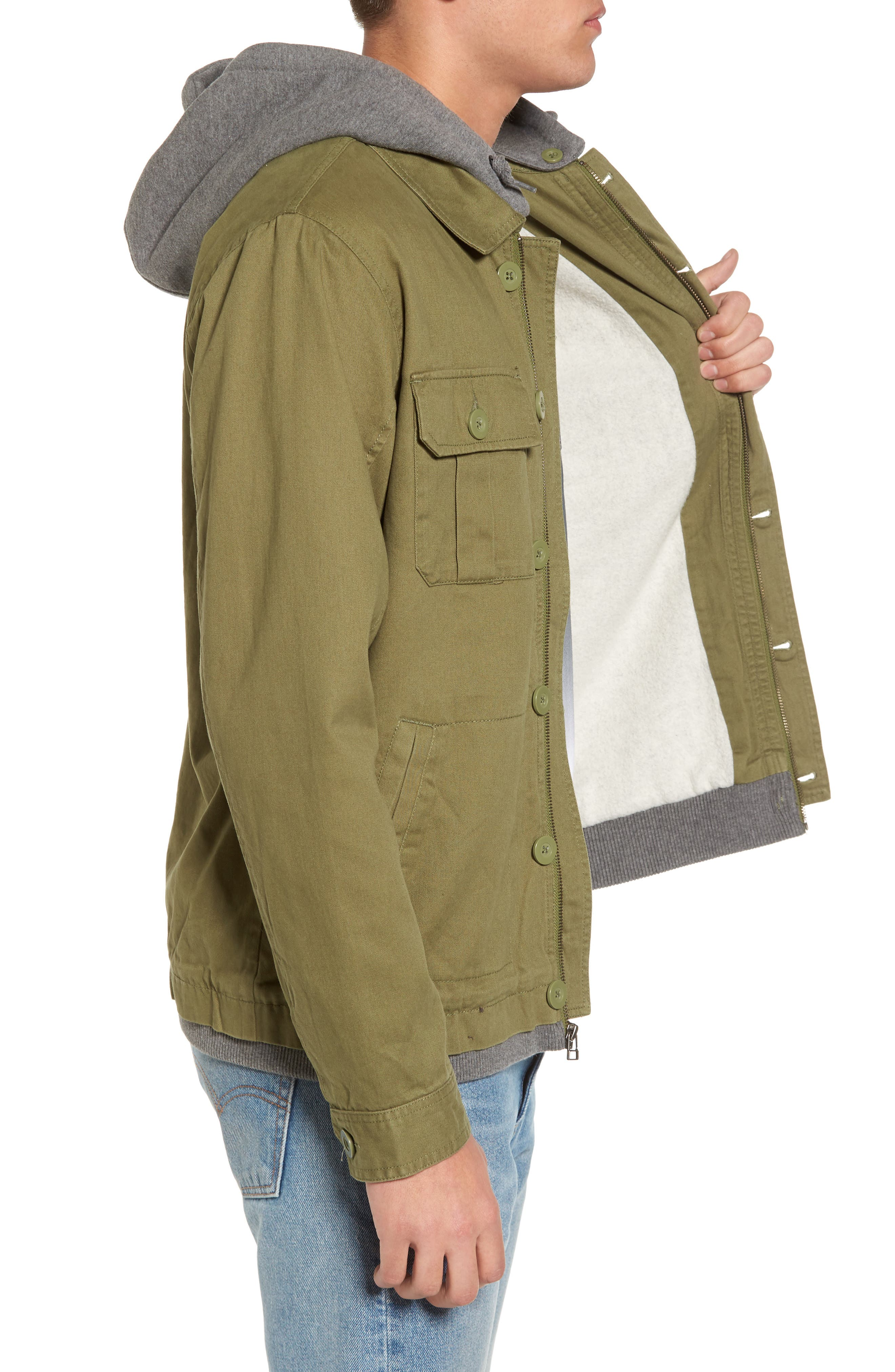 Droogs Field Jacket with Detachable Hood,                             Alternate thumbnail 3, color,                             001