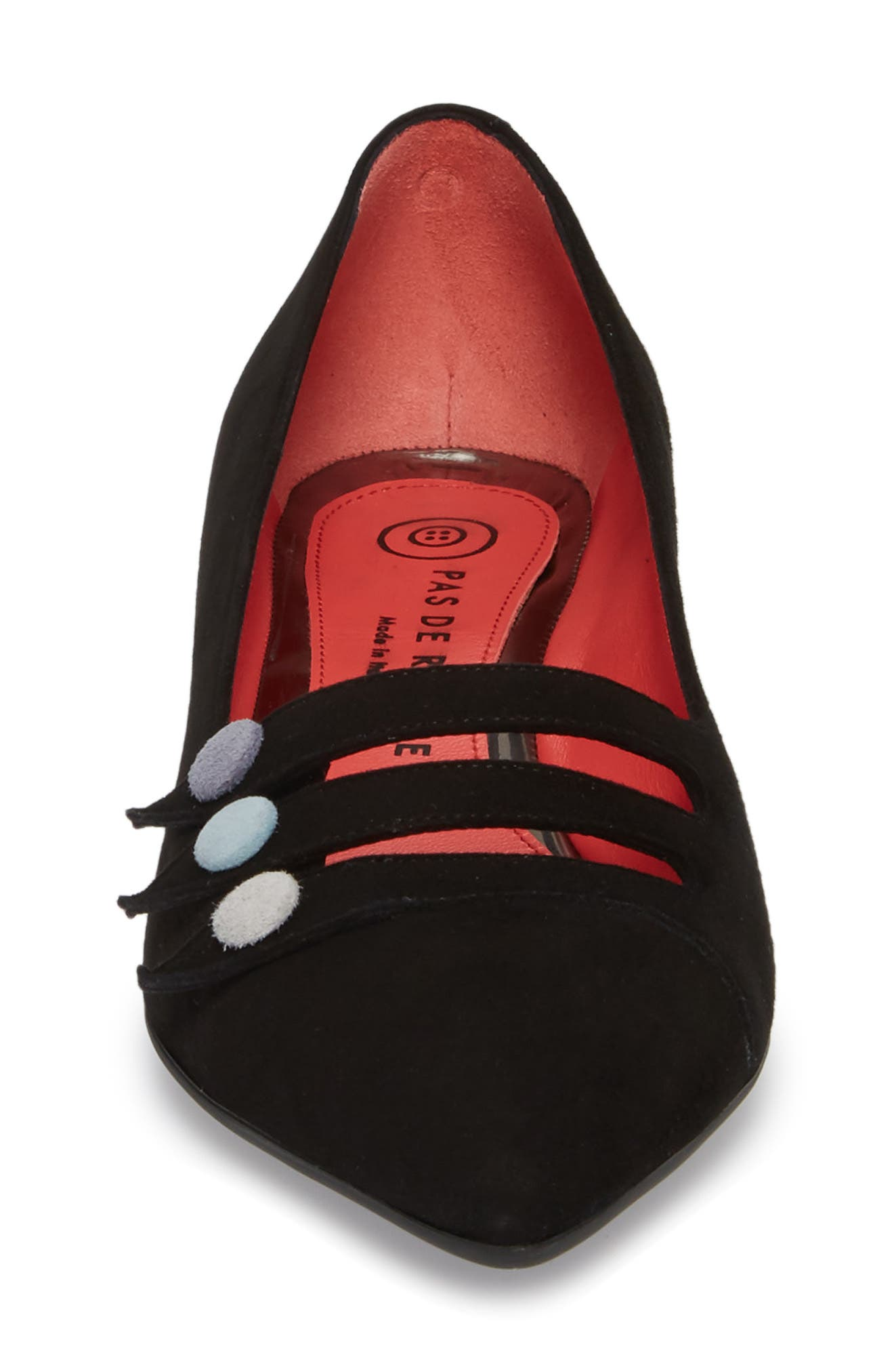 Janet Flat,                             Alternate thumbnail 4, color,                             BLACK LEATHER/ SUEDE