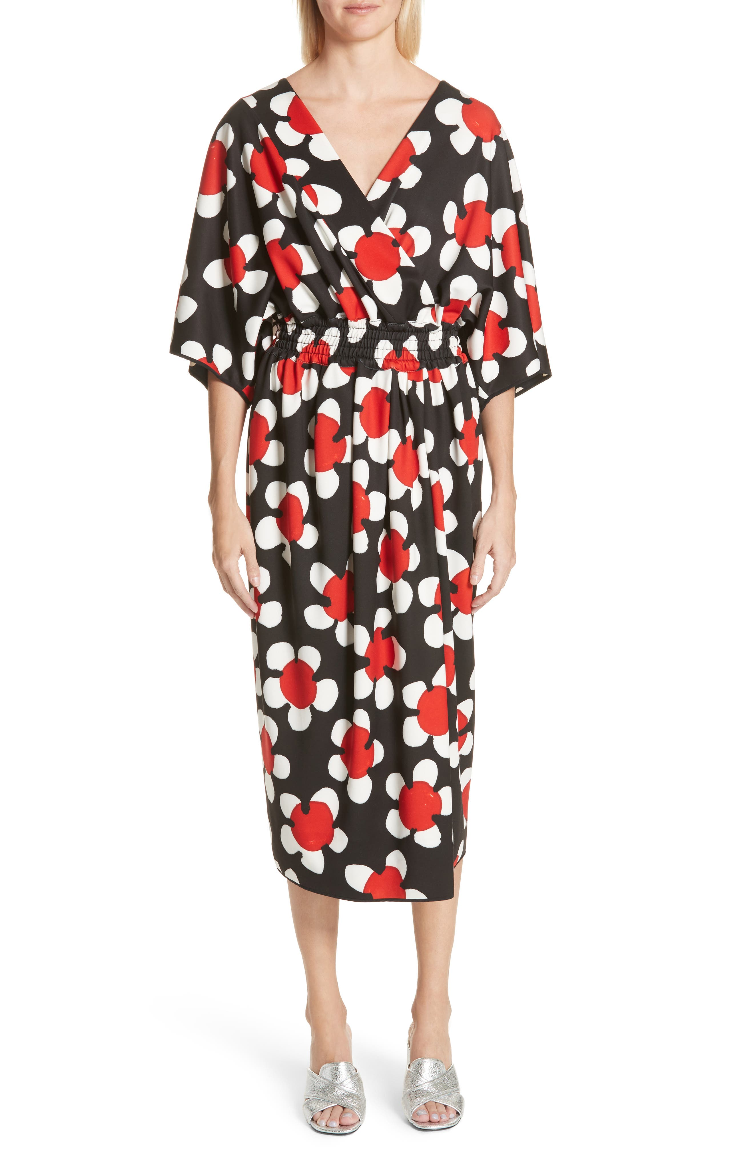 Surplice Neck Floral Print Dress,                             Main thumbnail 1, color,