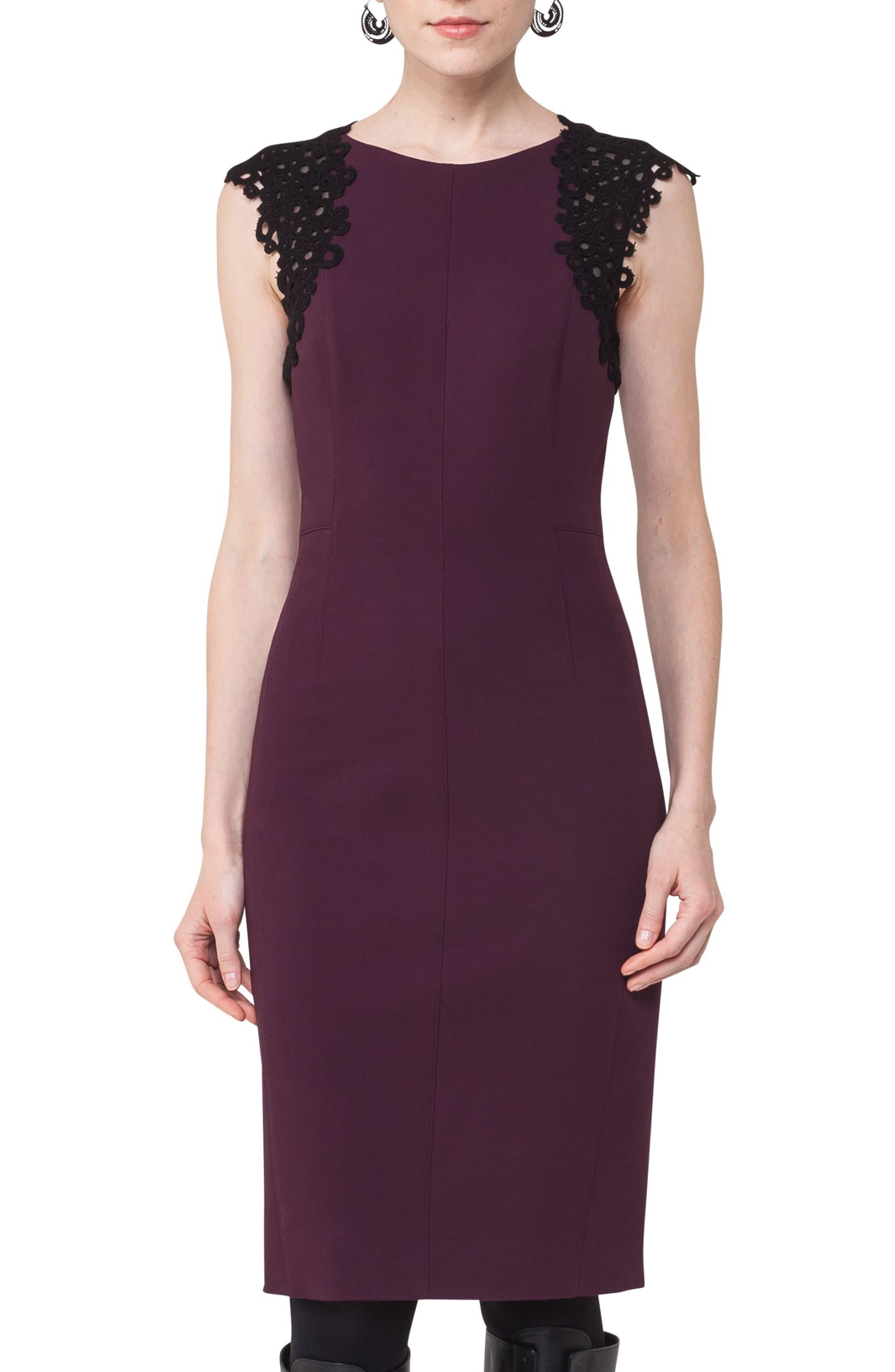 Lace Trim Sheath Dress,                             Alternate thumbnail 4, color,                             930