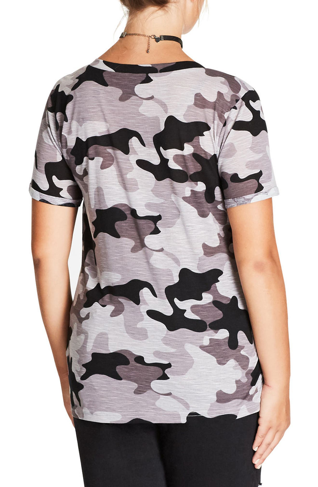 Camouflage Print Top,                             Alternate thumbnail 2, color,                             001
