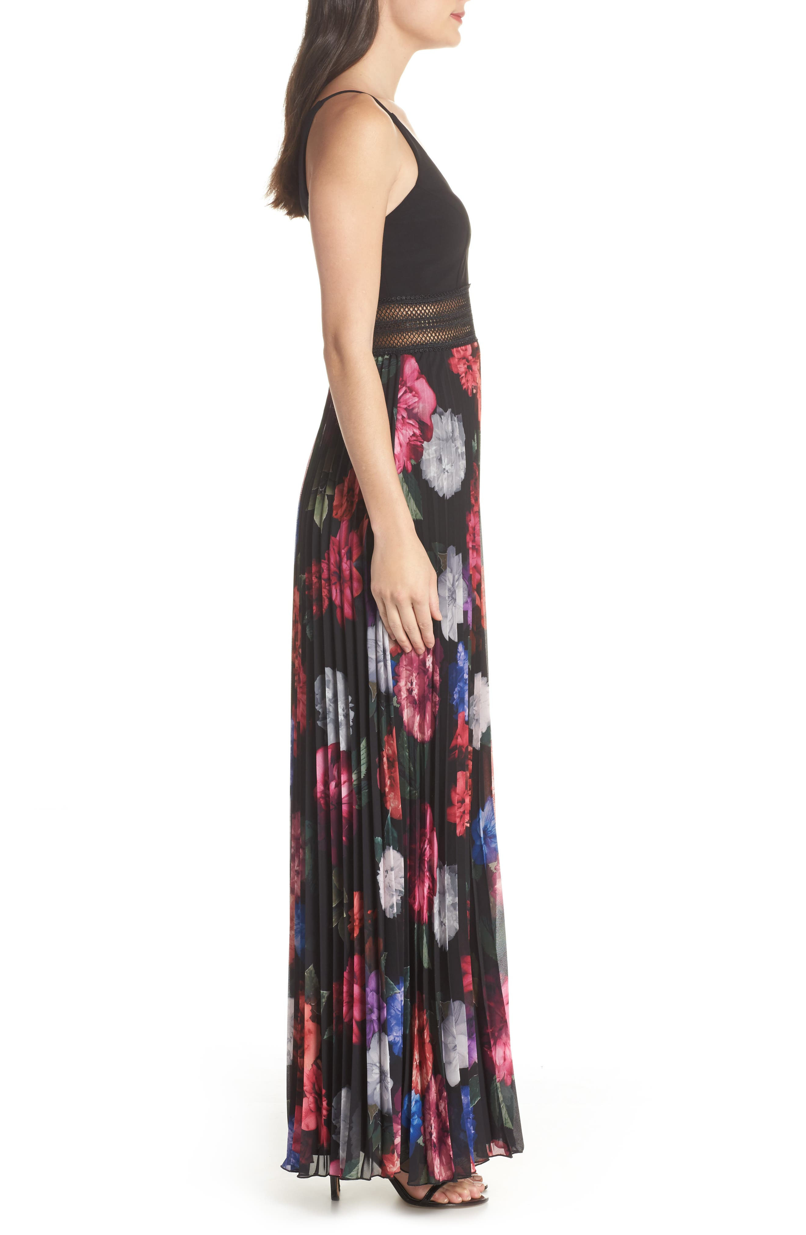 Floral Pleated Gown,                             Alternate thumbnail 3, color,                             001