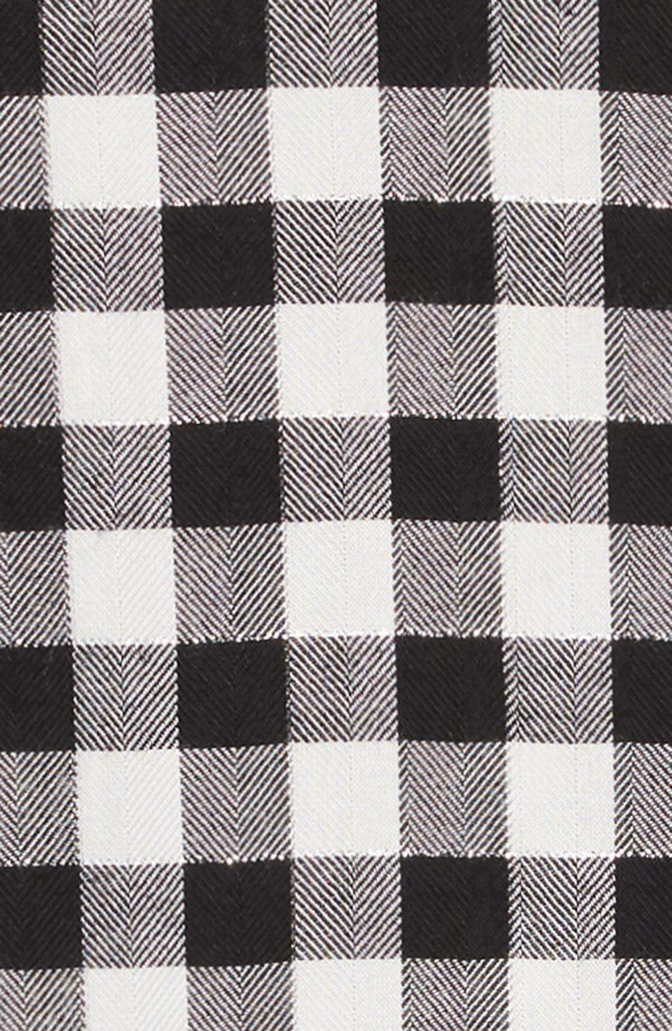 Plaid Ruffle Dress,                             Alternate thumbnail 3, color,                             BLACK- WHITE CHECK