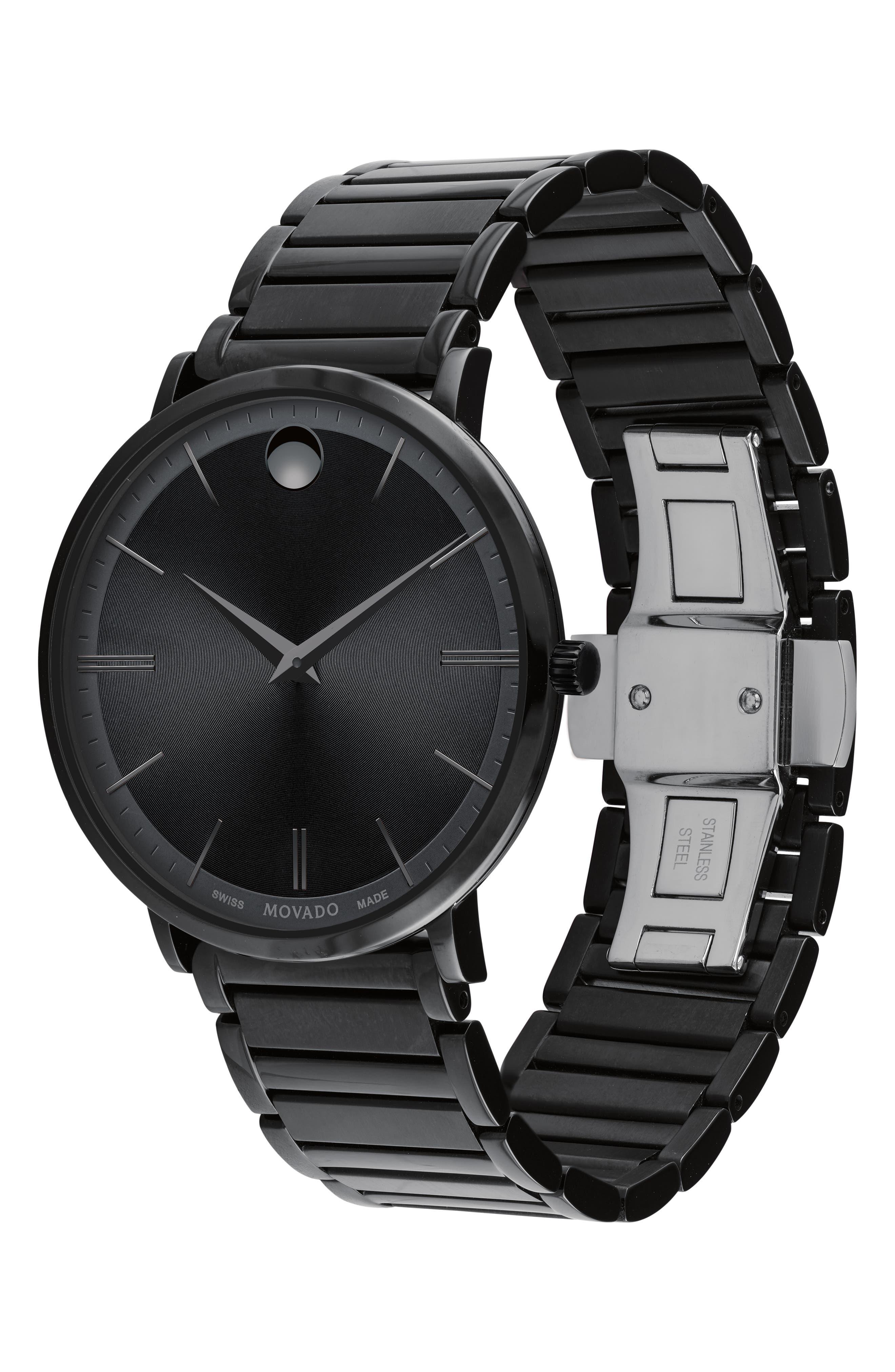 Ultra Slim Bracelet Watch, 40mm,                             Alternate thumbnail 3, color,                             BLACK