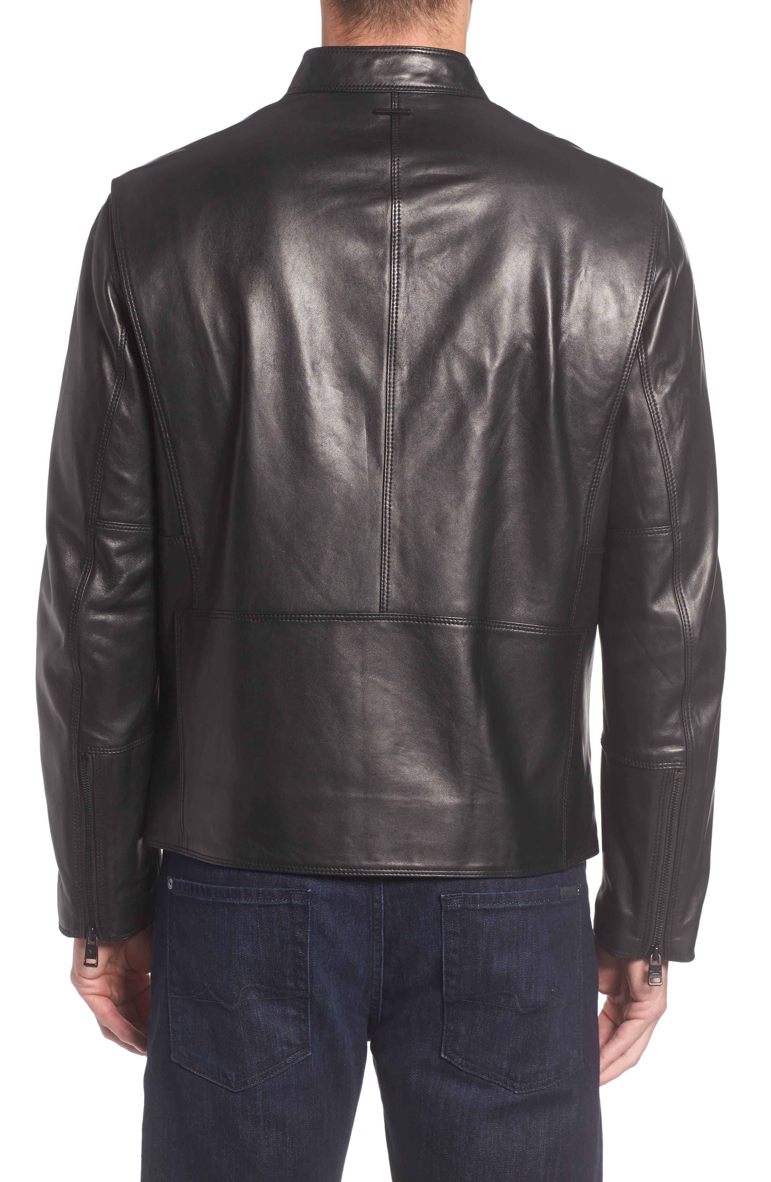 Gibson Slim Leather Moto Jacket,                             Alternate thumbnail 2, color,                             001