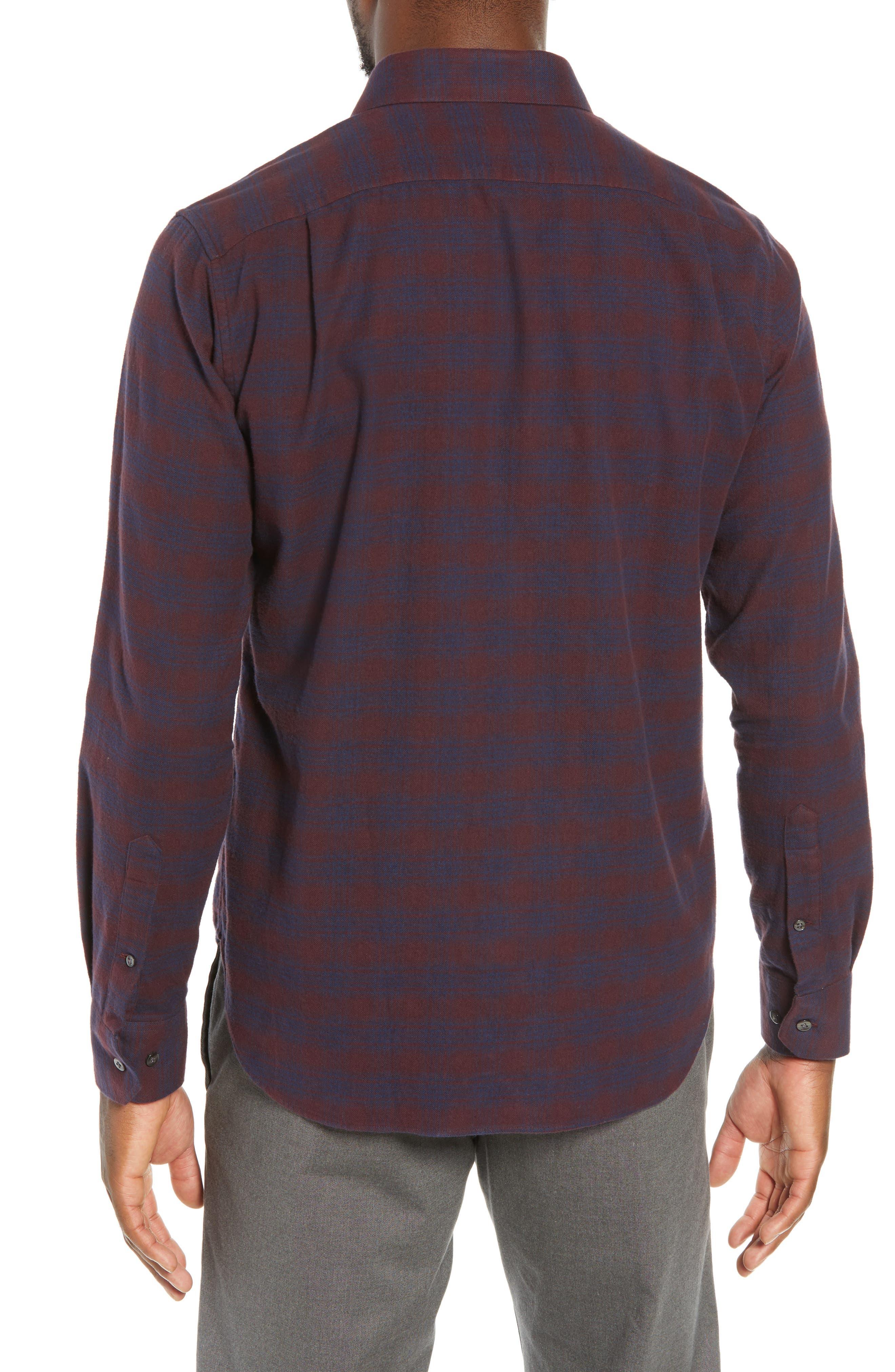 Unbutton Down Slim Fit Check Sport Shirt,                             Alternate thumbnail 3, color,                             ADCROFT CHECK - DAMSON PLUM
