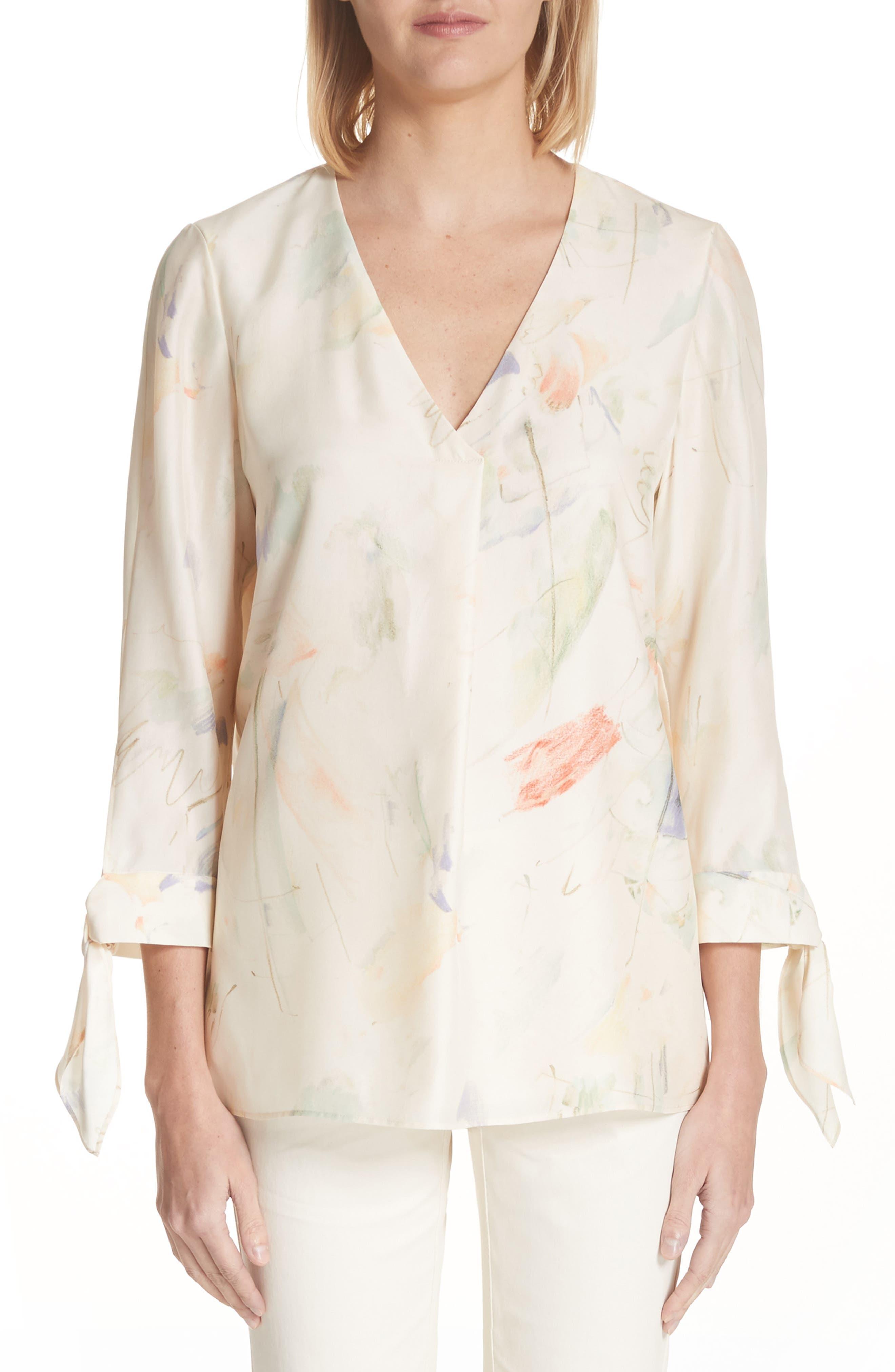 Blair Modern Muse Print Silk Blouse,                         Main,                         color, 905