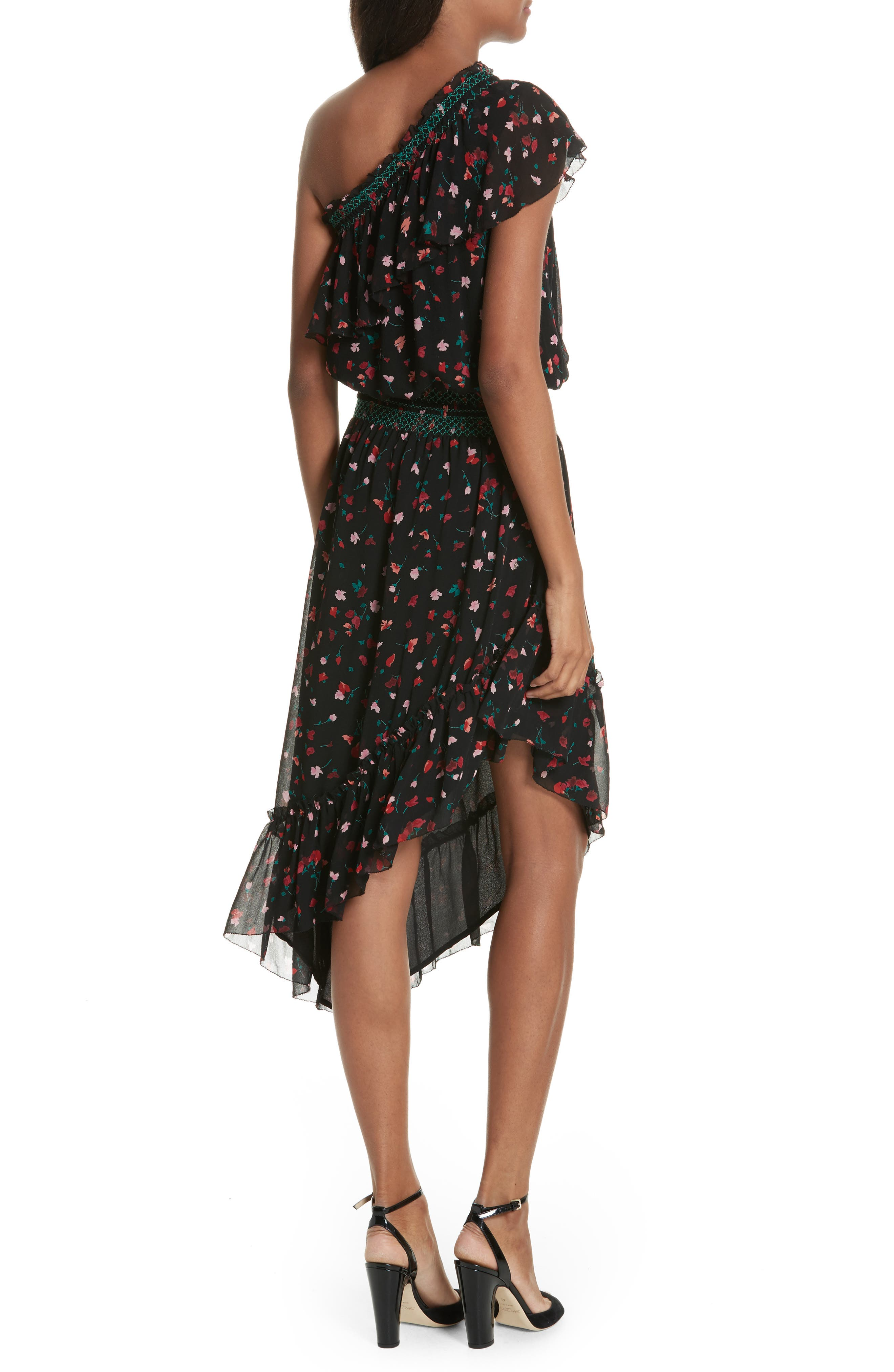 Hafsa One-Shoulder Print Silk Dress,                             Alternate thumbnail 2, color,                             001