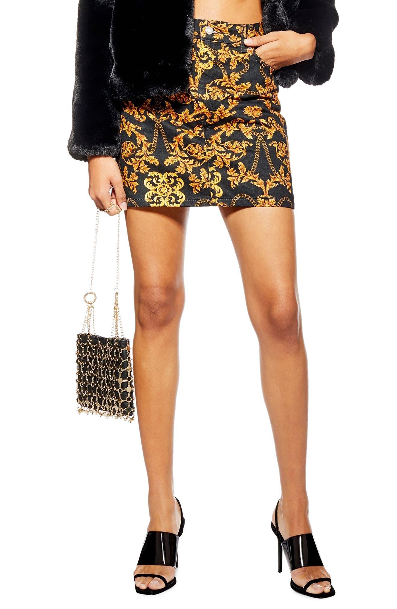 Topshop Chain Print Denim Skirt, US (fits like 0) - Black