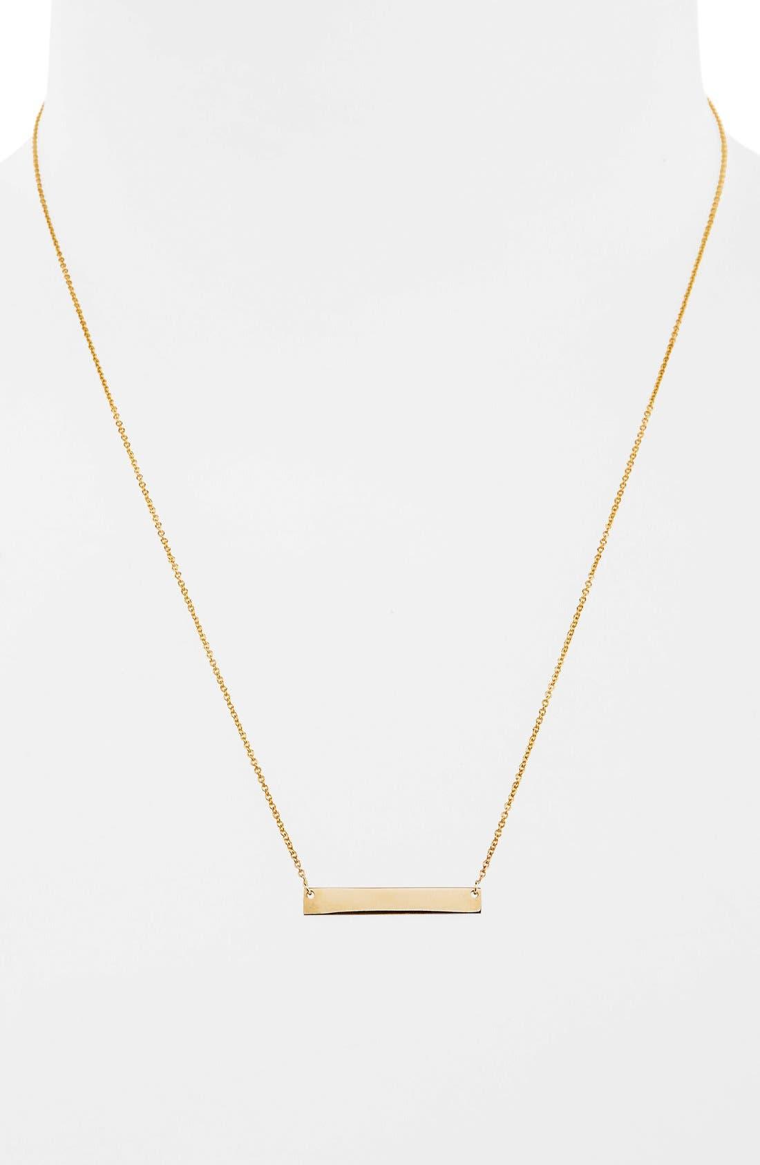14k GoldBar Pendant Necklace,                             Alternate thumbnail 2, color,                             YELLOW GOLD