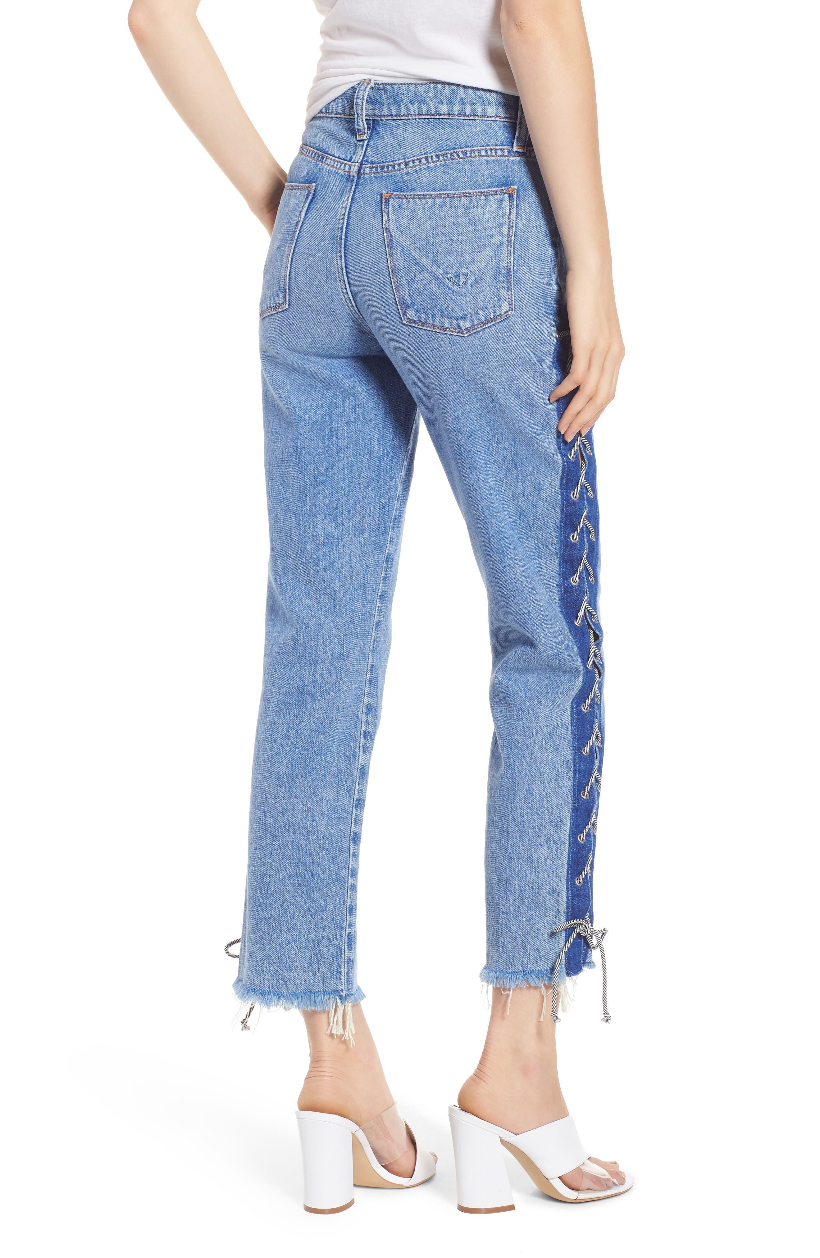 Zoeey High Waist Crop Straight Leg Jeans,                             Alternate thumbnail 2, color,                             460