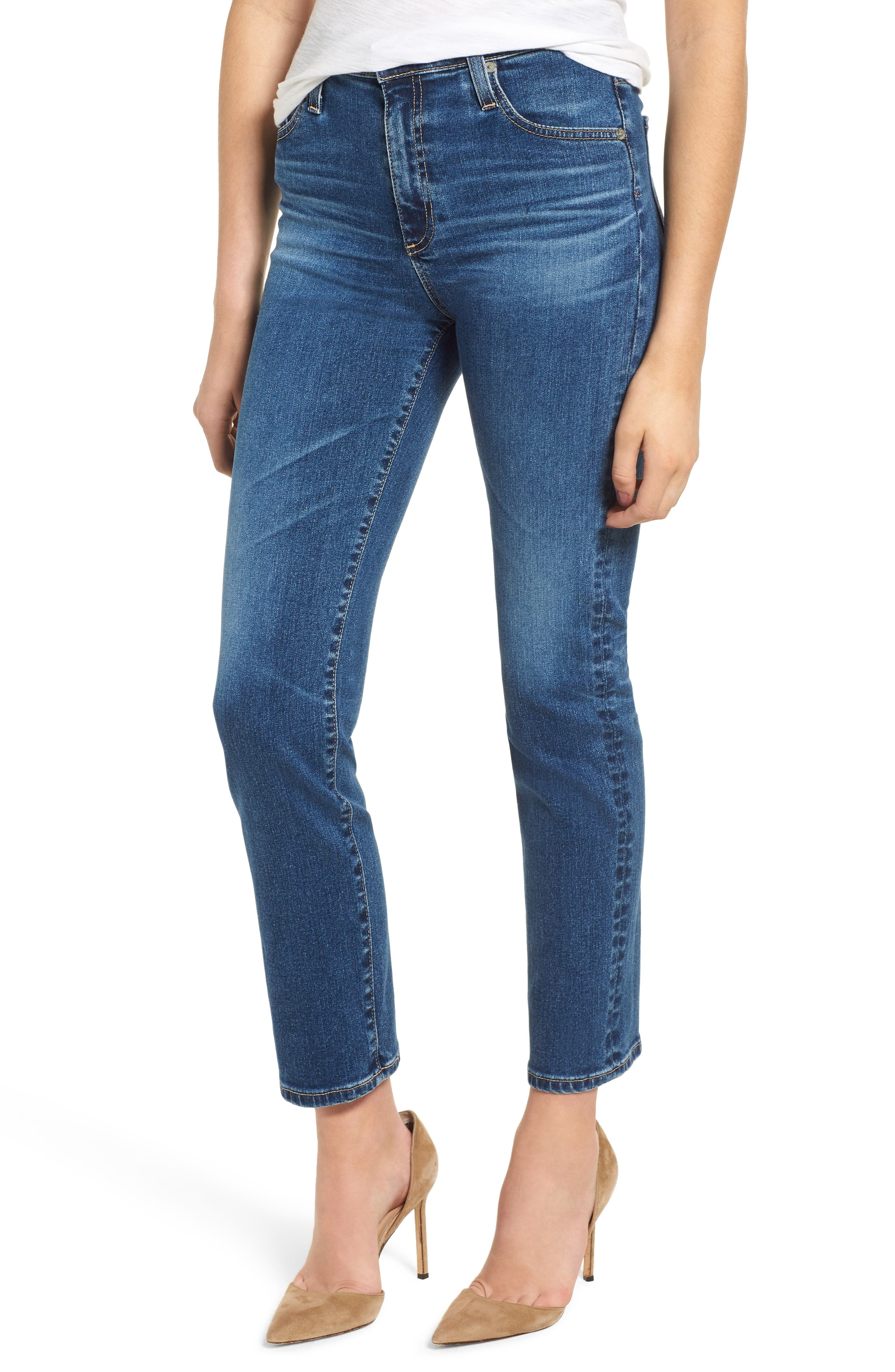 The Isabelle High Waist Crop Straight Leg Jeans,                             Main thumbnail 1, color,                             10 YEARS CAMBRIA