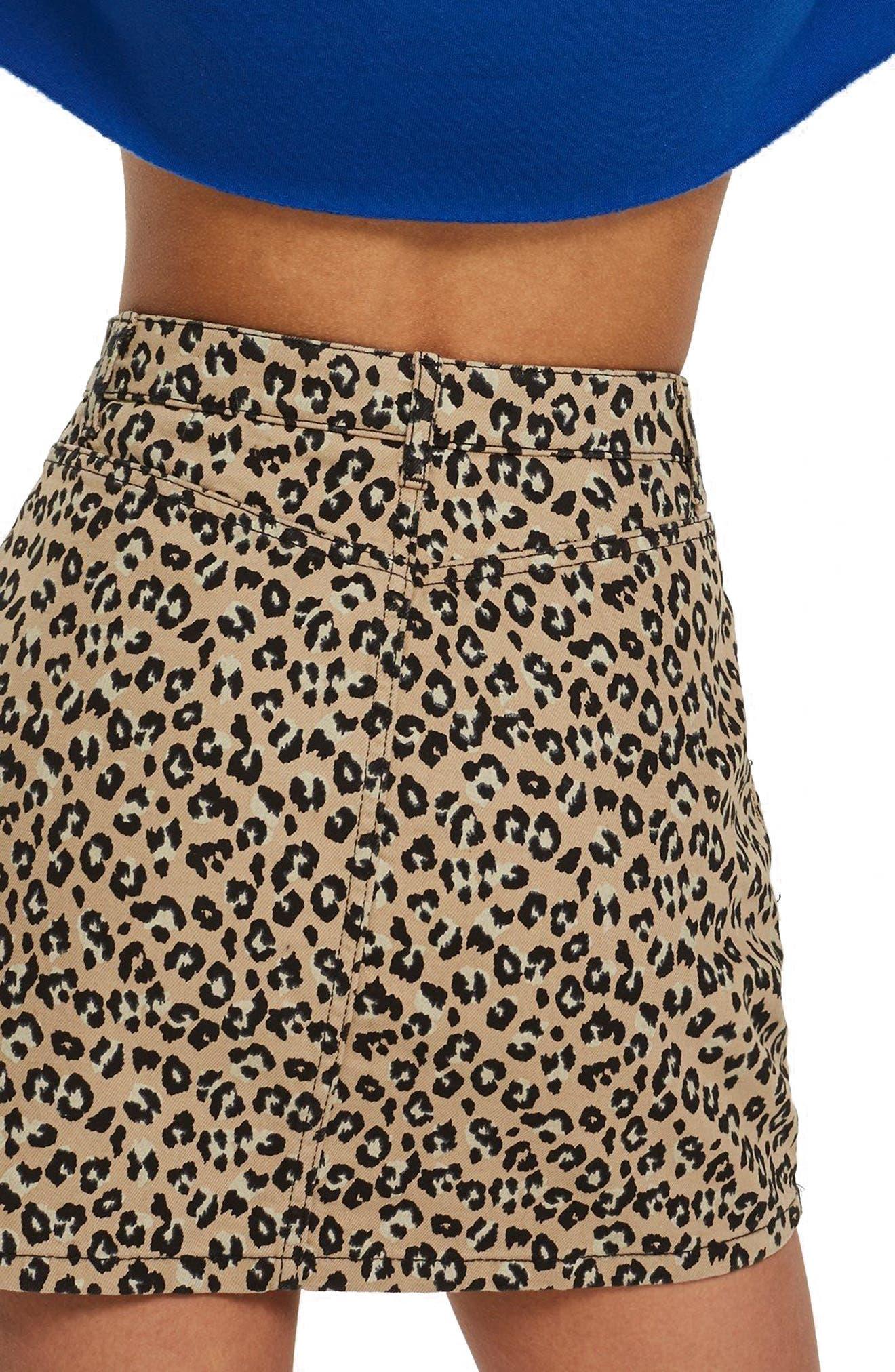 Half Zip Leopard Print Denim Skirt,                             Alternate thumbnail 2, color,                             TAN MULTI