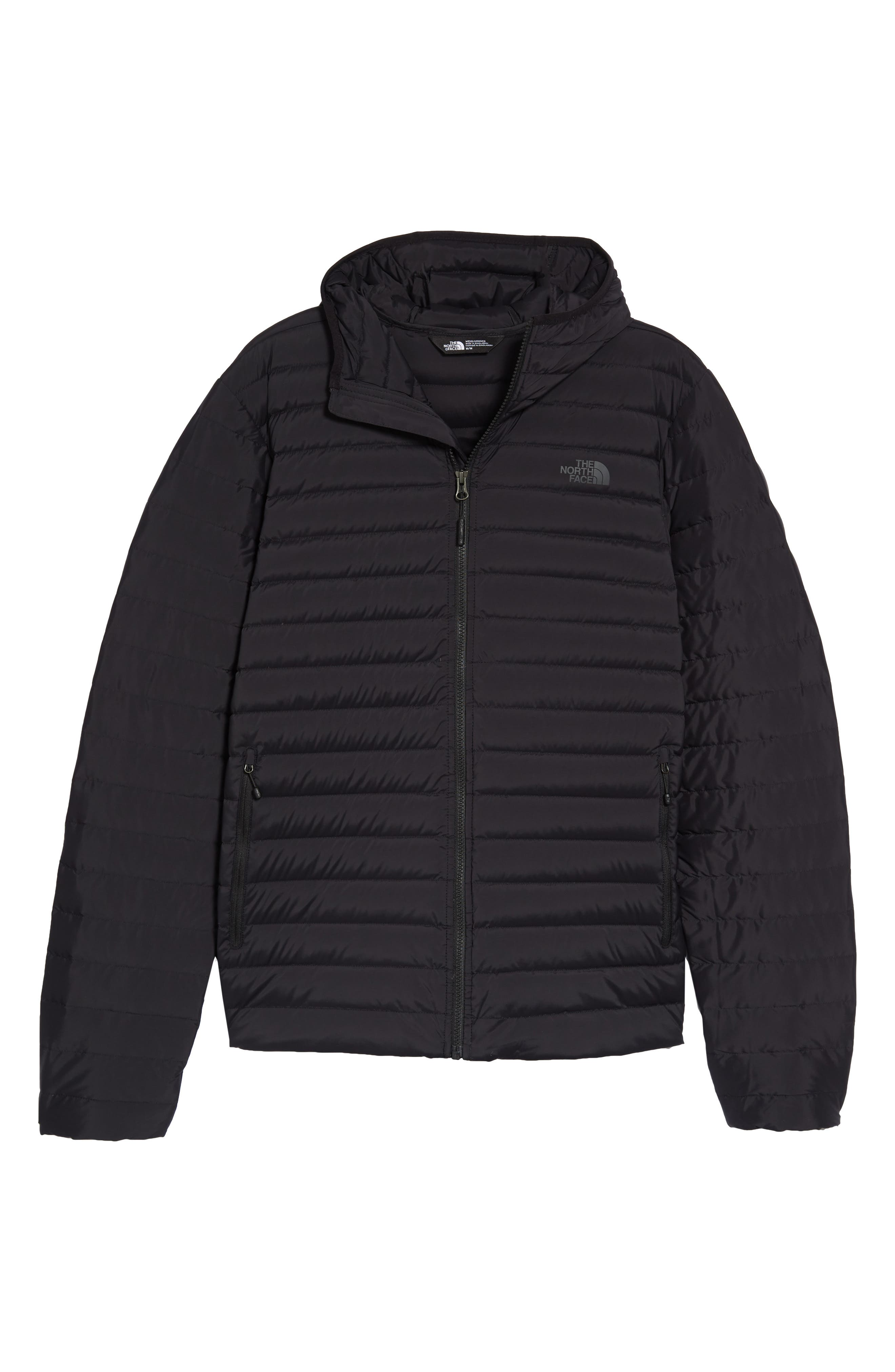 Packable Stretch Down Hooded Jacket,                             Alternate thumbnail 6, color,                             TNF BLACK/ TNF BLACK