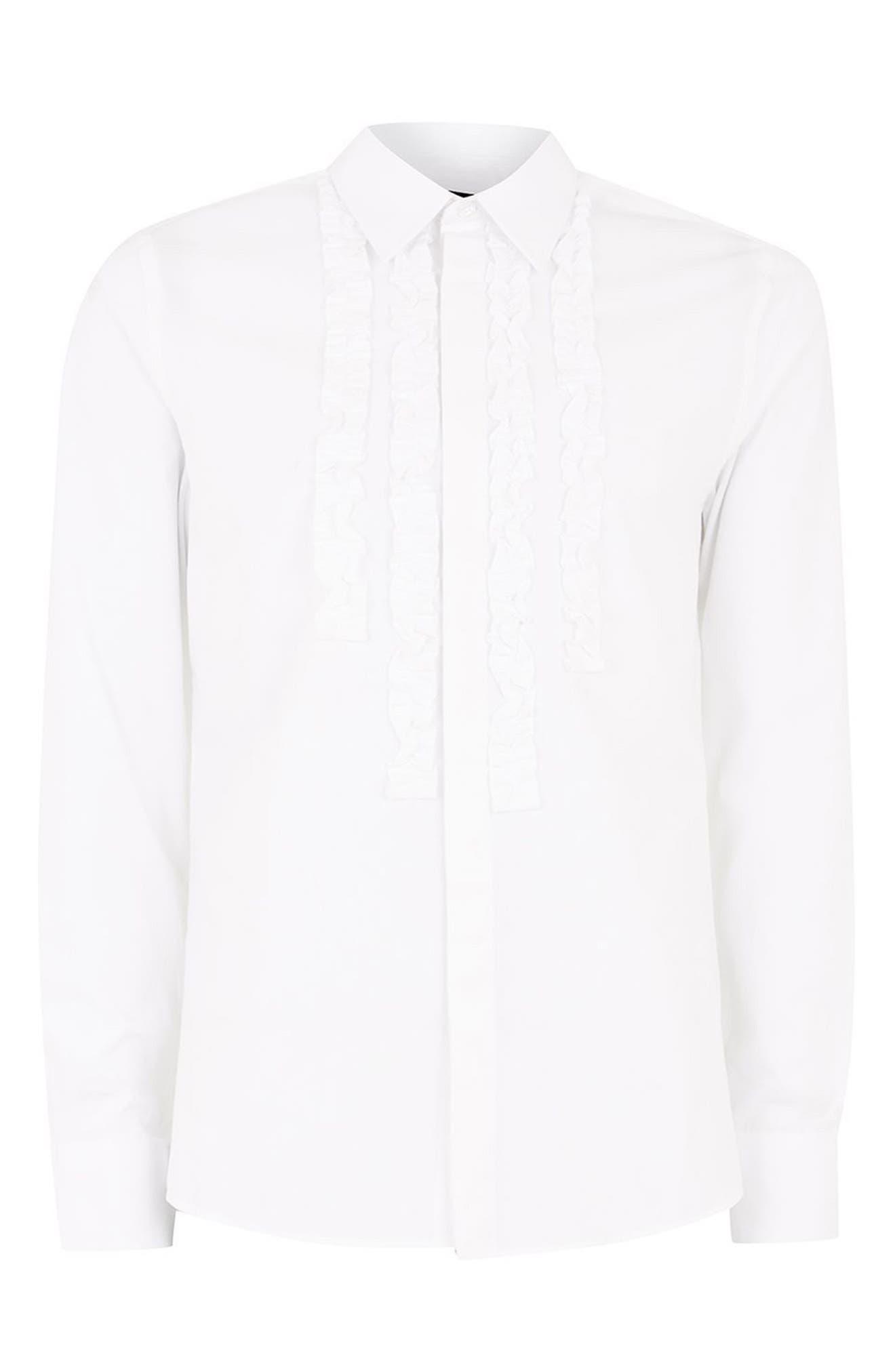 Slim Fit Ruffle Dress Shirt,                             Alternate thumbnail 4, color,                             100