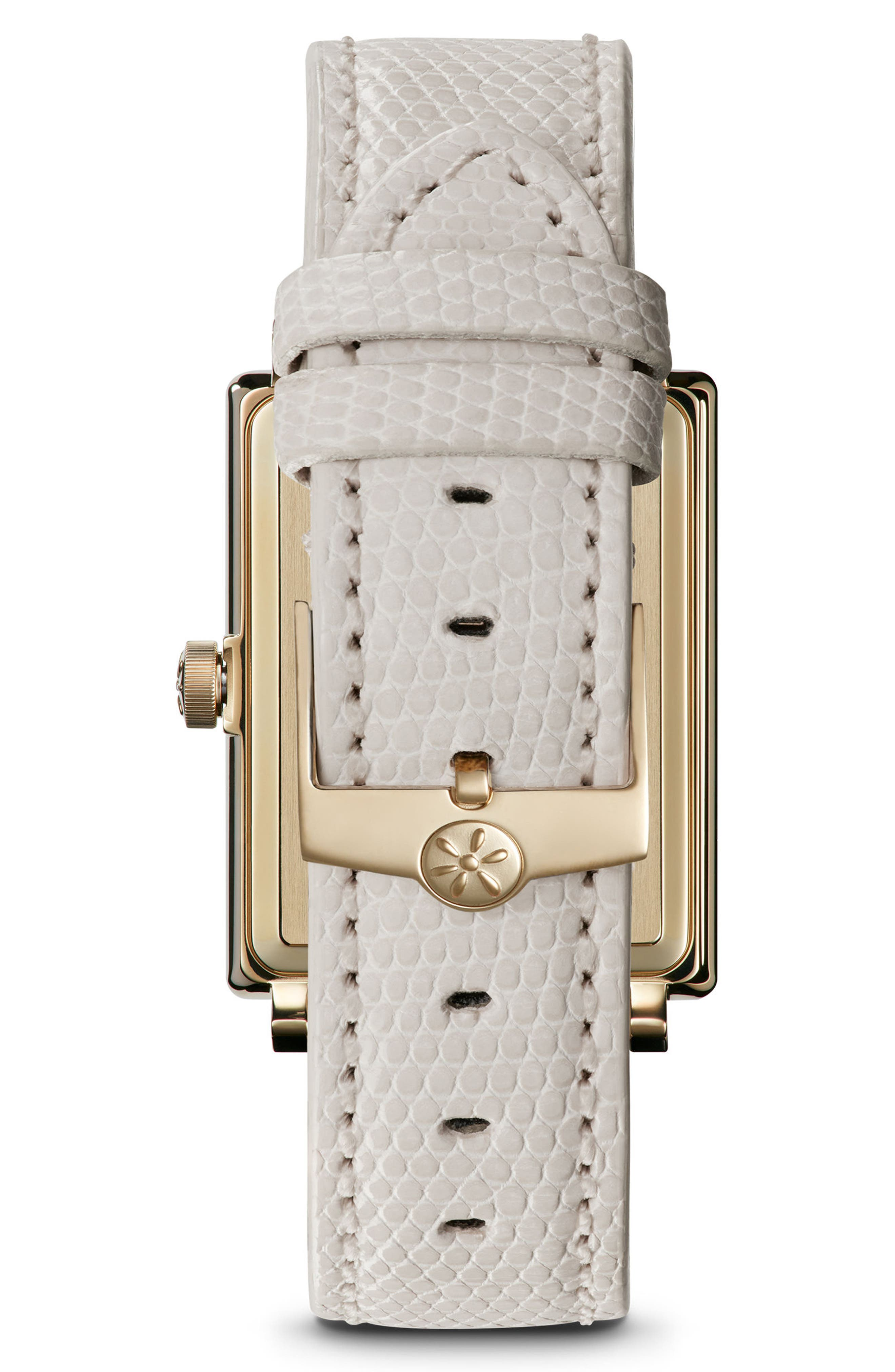 The Shirley Fromer Leather Strap Watch, 32mm x 25mm,                             Alternate thumbnail 2, color,                             WHITE/ GOLD