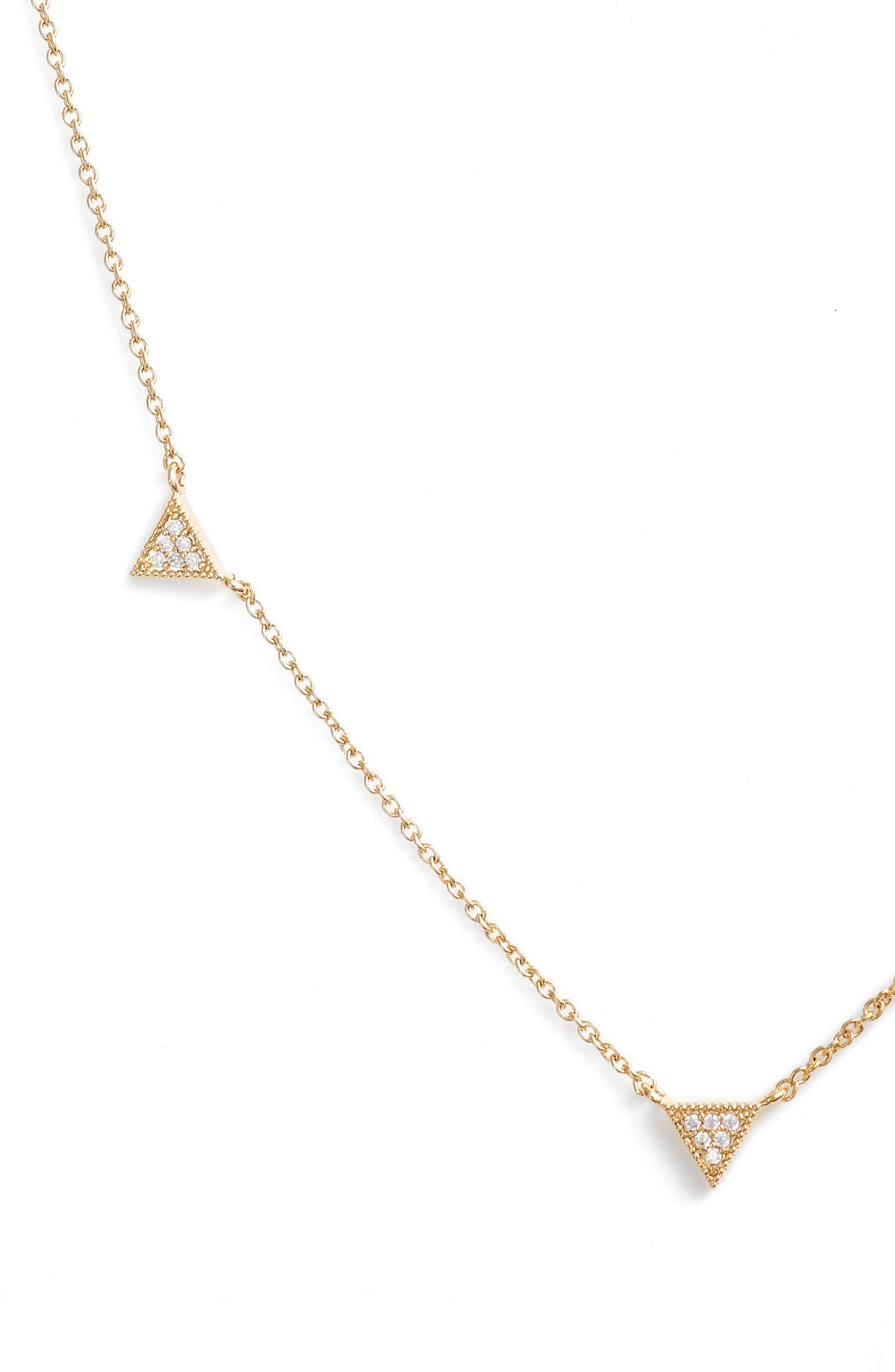 JULES SMITH Cubic Zirconia Triangle Collar Necklace, Main, color, 710