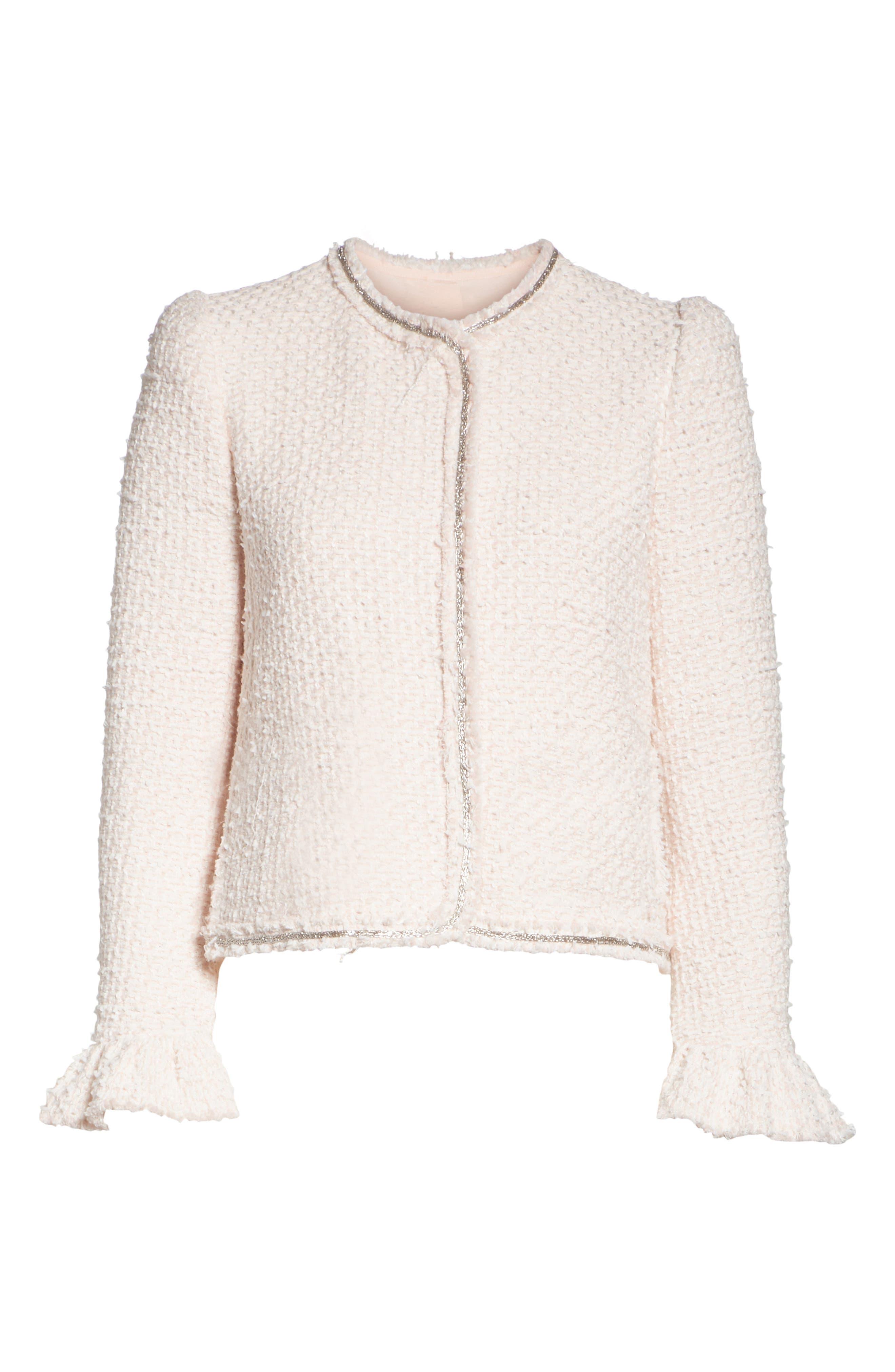 Ruffle Sleeve Tweed Jacket,                             Alternate thumbnail 5, color,                             POWDER PINK COMBO