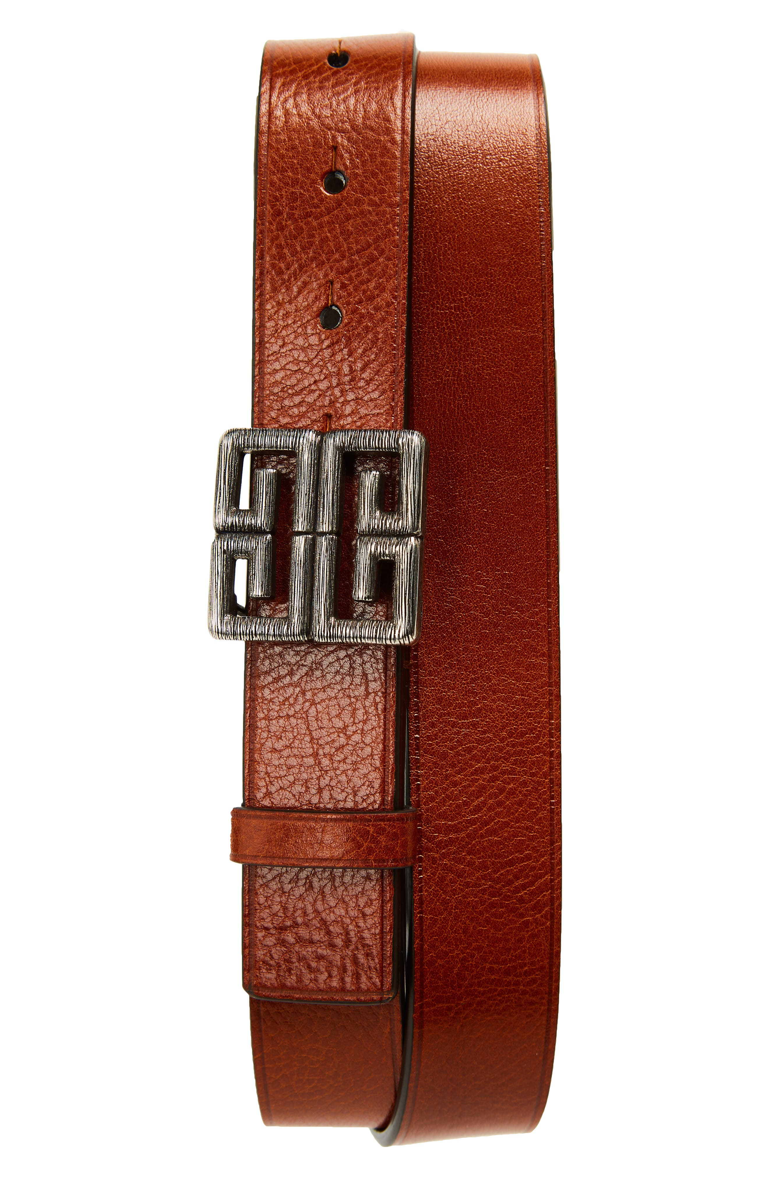 GIVENCHY 4G Leather Belt, Main, color, 200