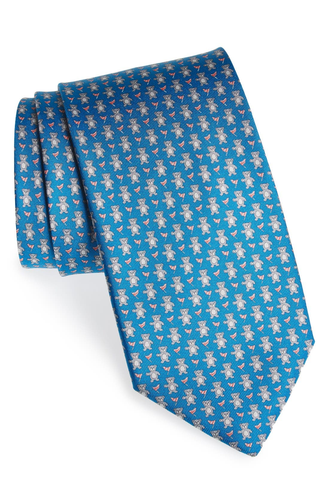 Bear Print Silk Tie, Main, color, 494