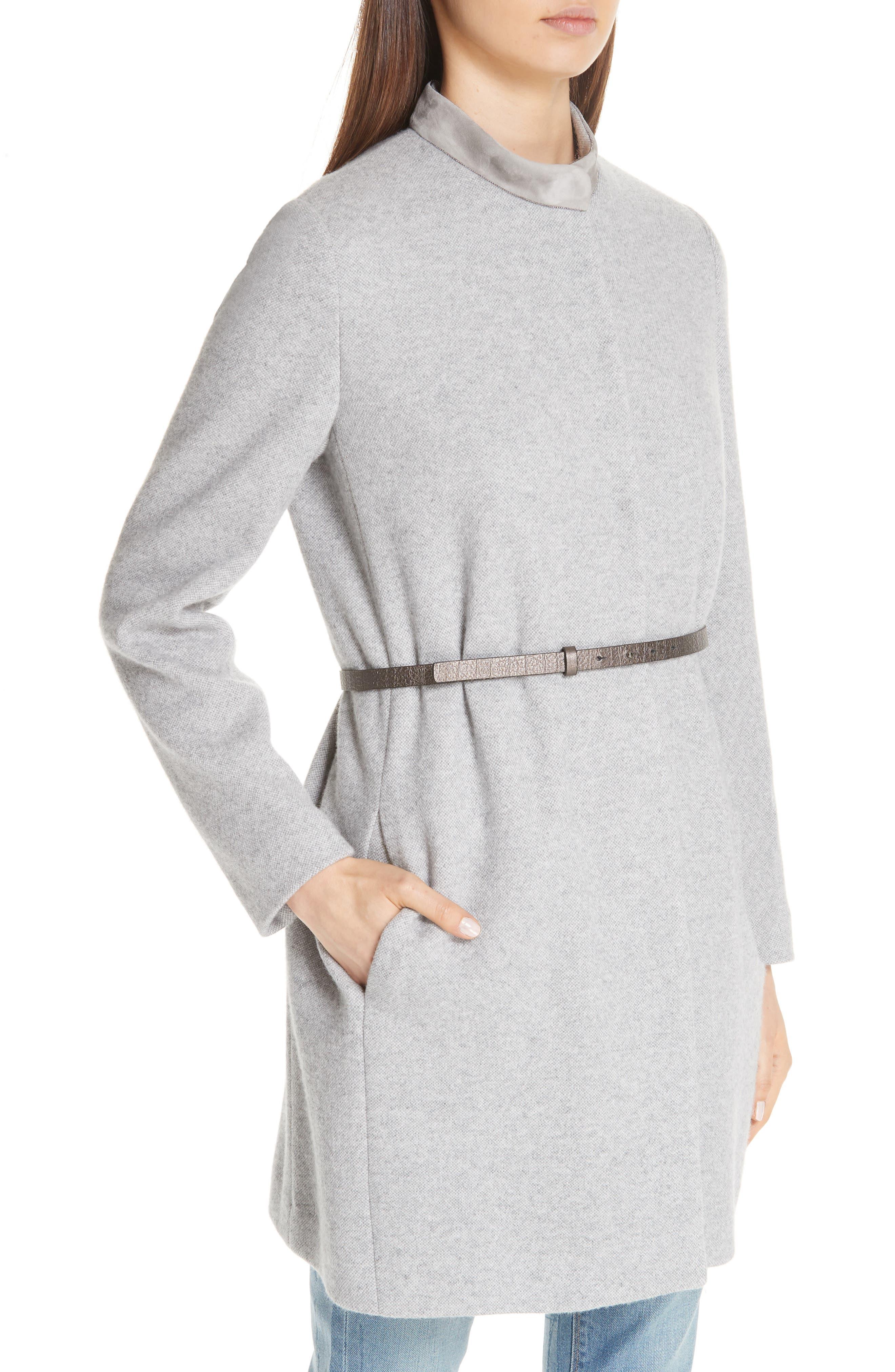 FABIANA FILIPPI,                             Suede Trim Tweed Jacket,                             Alternate thumbnail 4, color,                             GREY