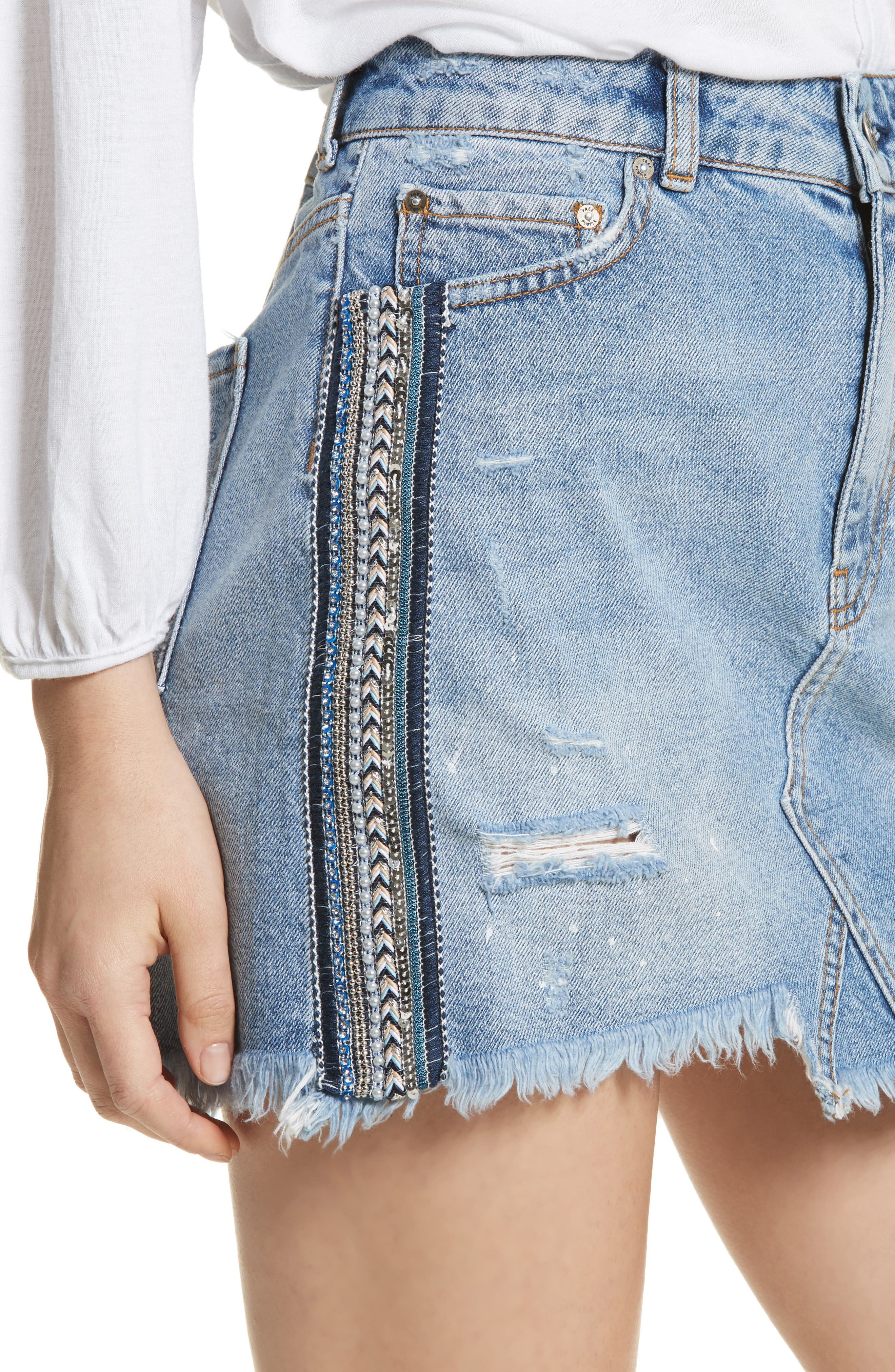 FREE PEOPLE,                             Side Stripe Embellished Miniskirt,                             Alternate thumbnail 4, color,                             400