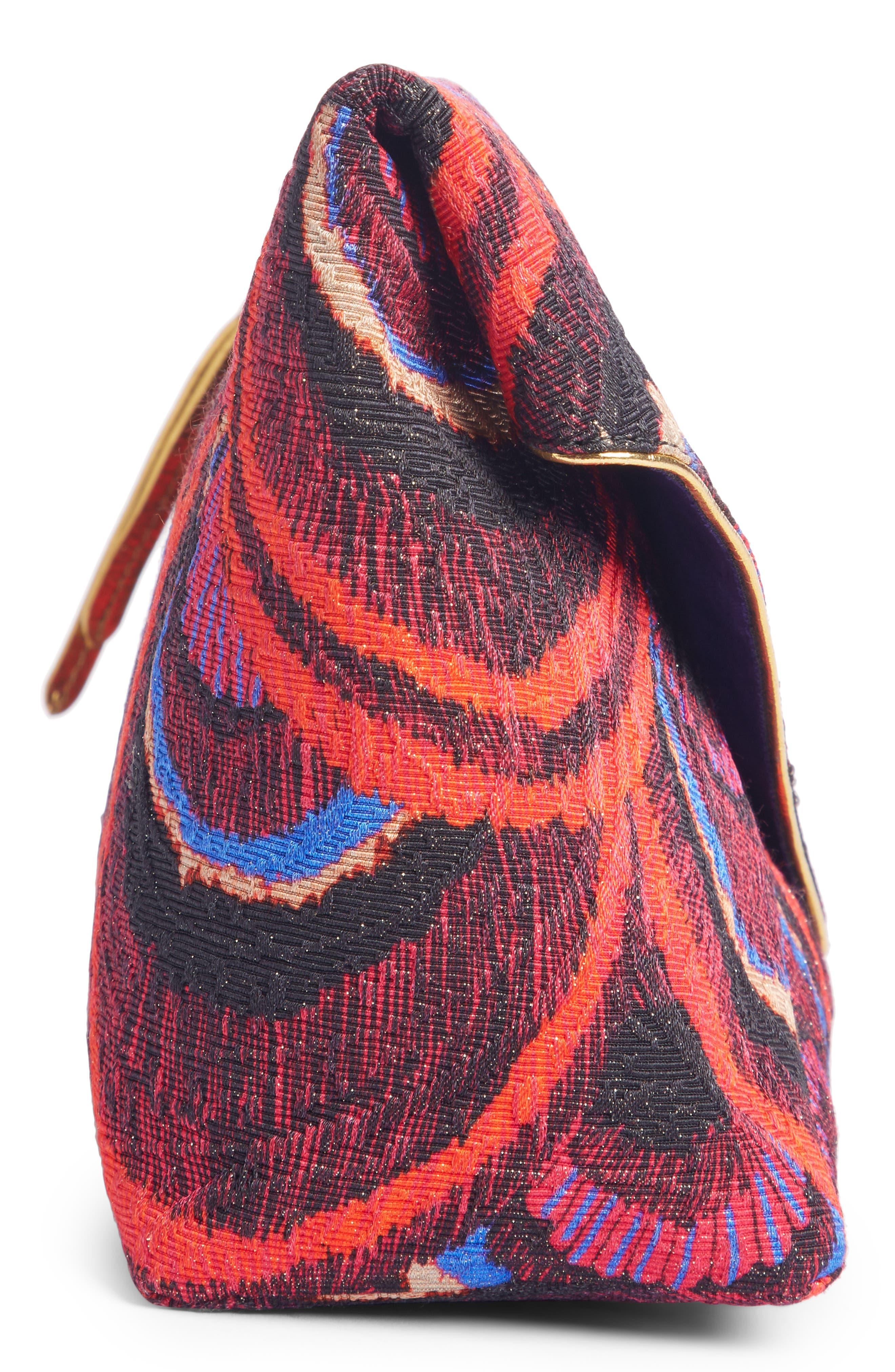 Peacock Jacquard Envelope Clutch,                             Alternate thumbnail 3, color,                             CHERRY
