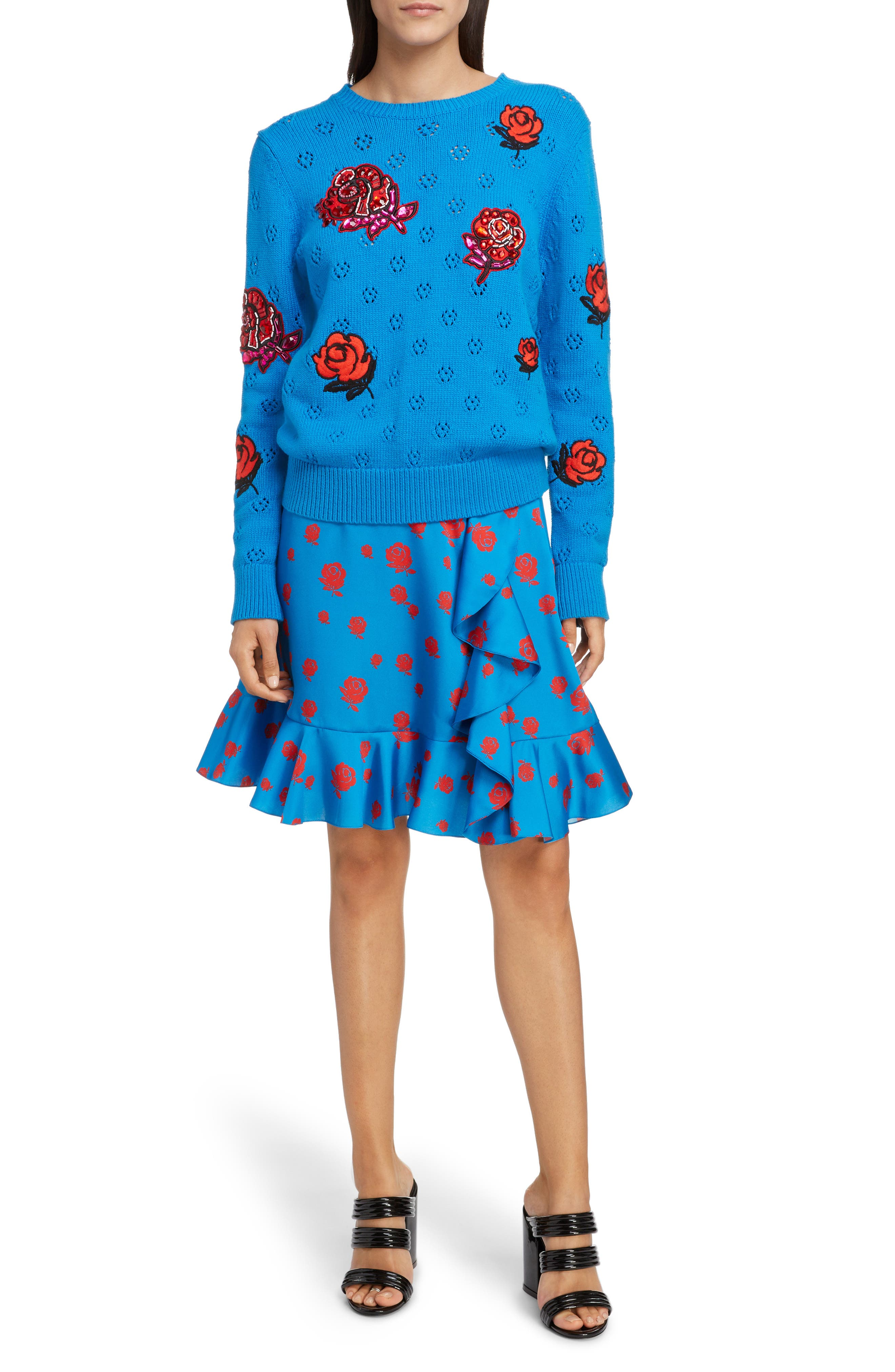 Floral Patch Sweater,                             Alternate thumbnail 6, color,                             FRENCH BLUE