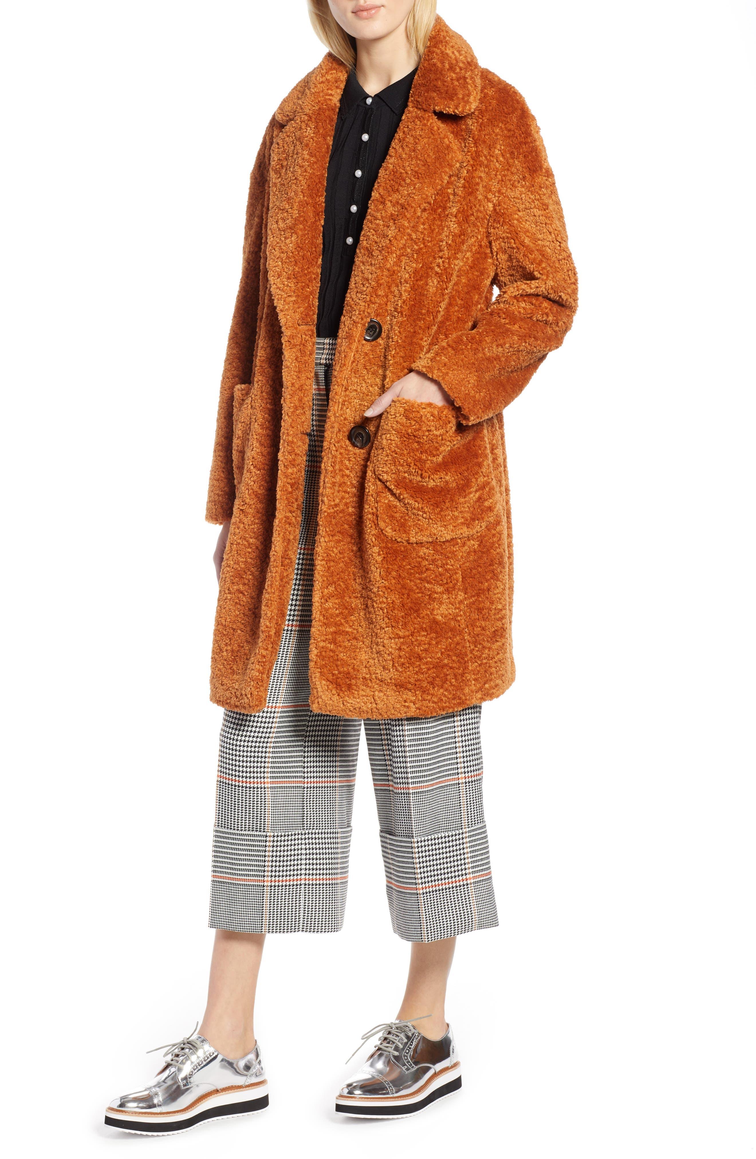 x Atlantic-Pacific Faux Fur Coat,                         Main,                         color, RUST GINGER