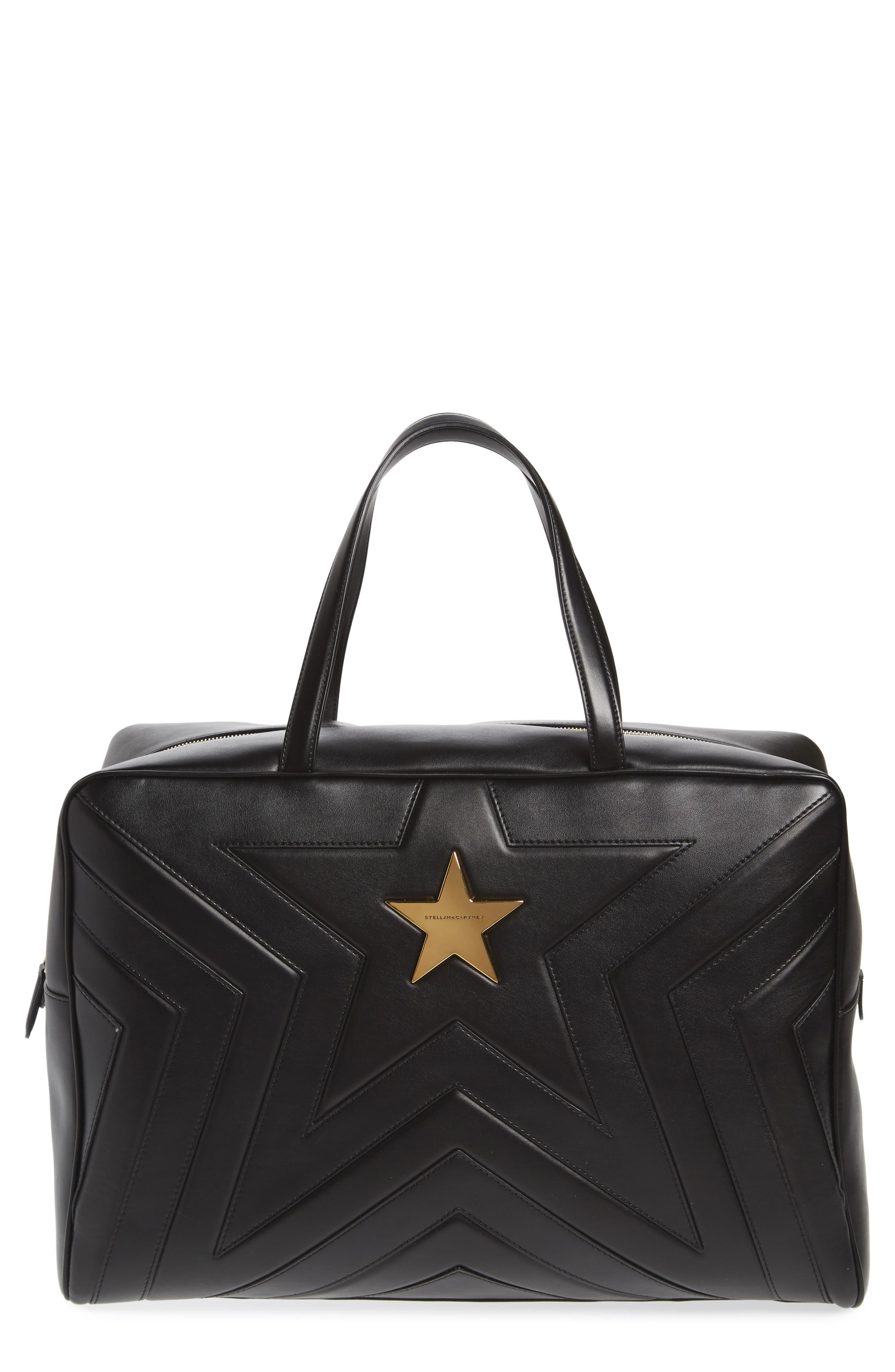 Alter Nappa Faux Leather Overnight Duffel,                             Main thumbnail 1, color,                             BLACK