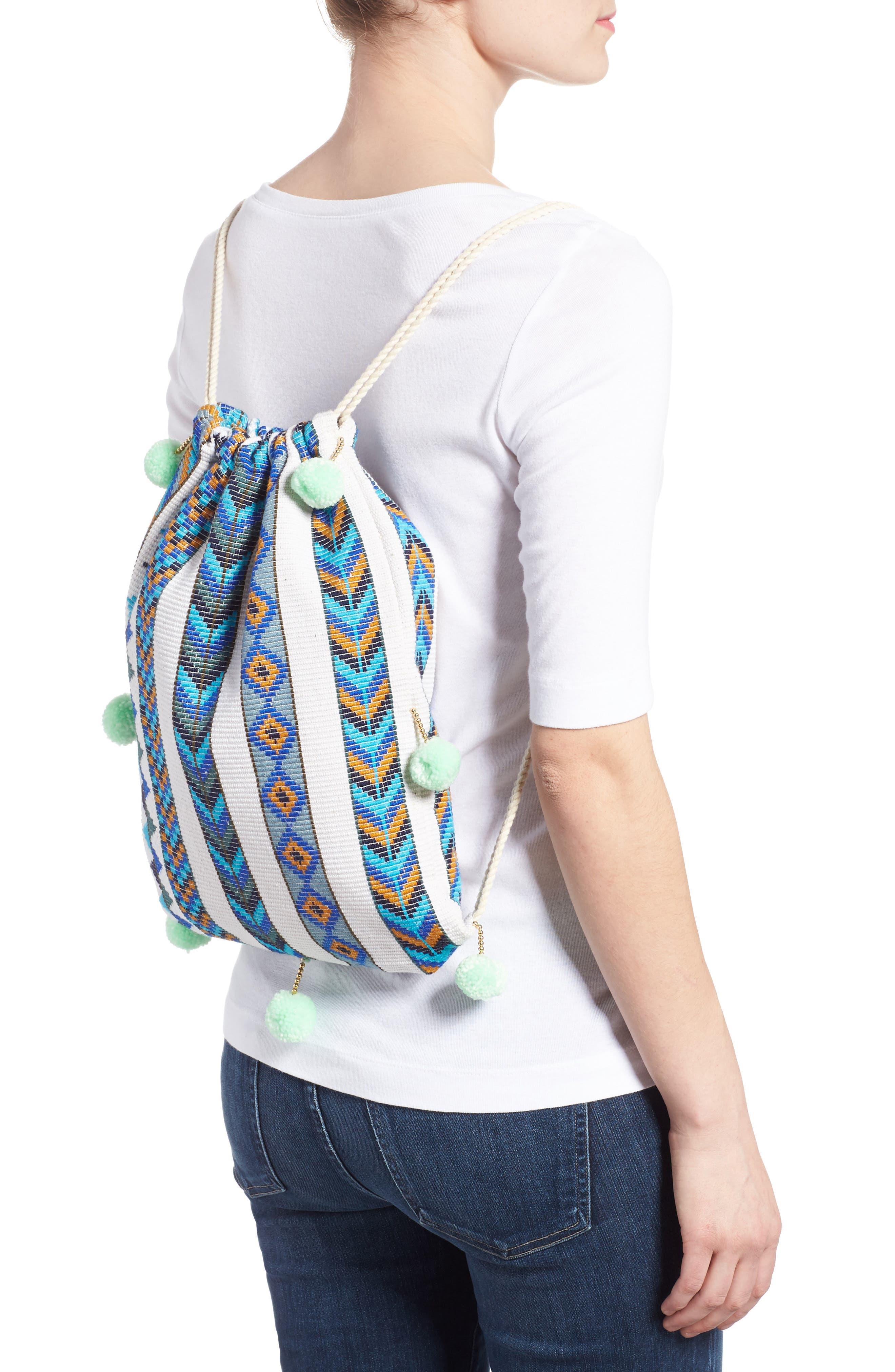 Pompom Drawstring Bag,                             Alternate thumbnail 5, color,