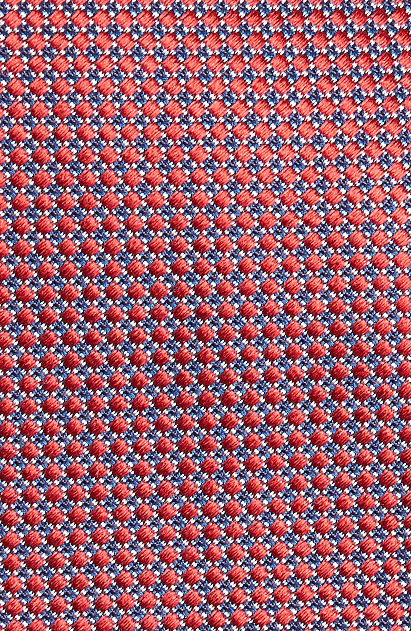 Neat Geometric Silk Tie,                             Alternate thumbnail 2, color,                             RED/ NAVY
